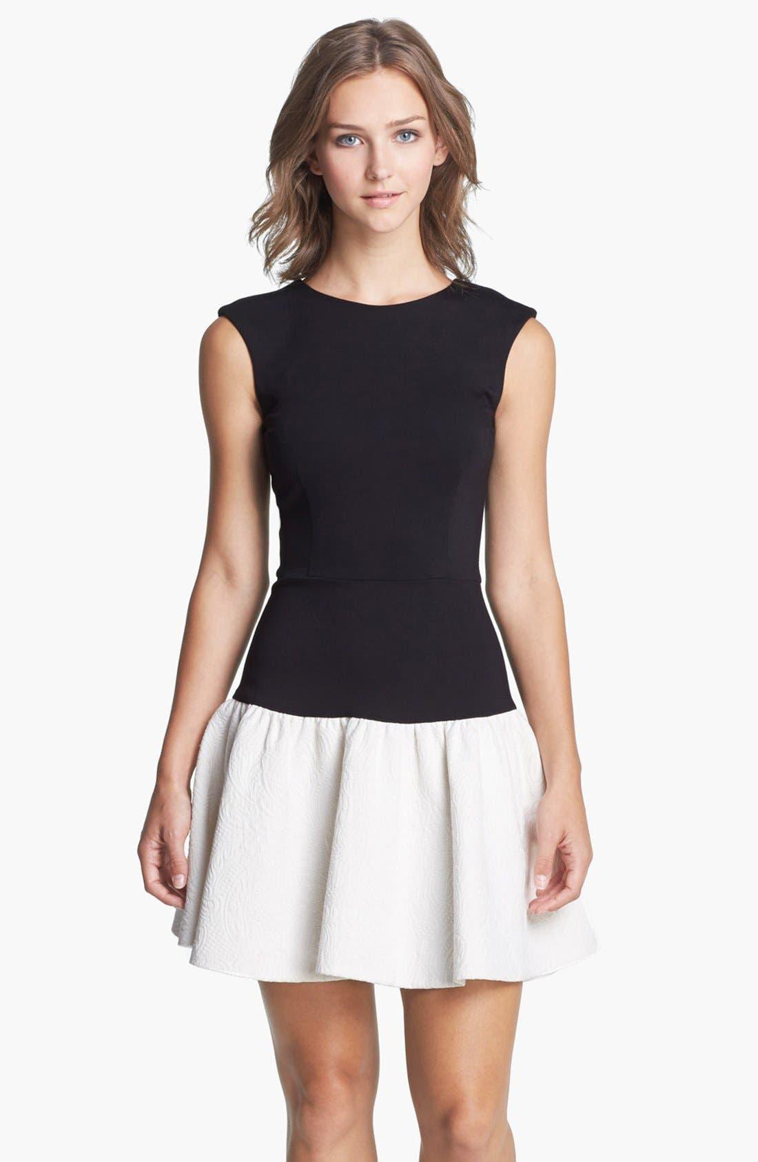 Main Image - ERIN erin fetherston Drop Waist Ponte & Jacquard Dress