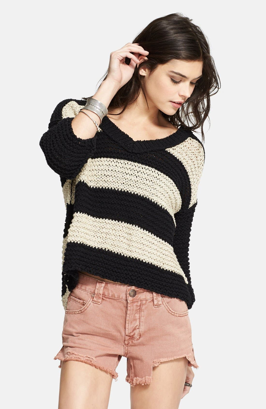 Alternate Image 1 Selected - Free People 'Park Slope' Stripe V-Neck Sweater