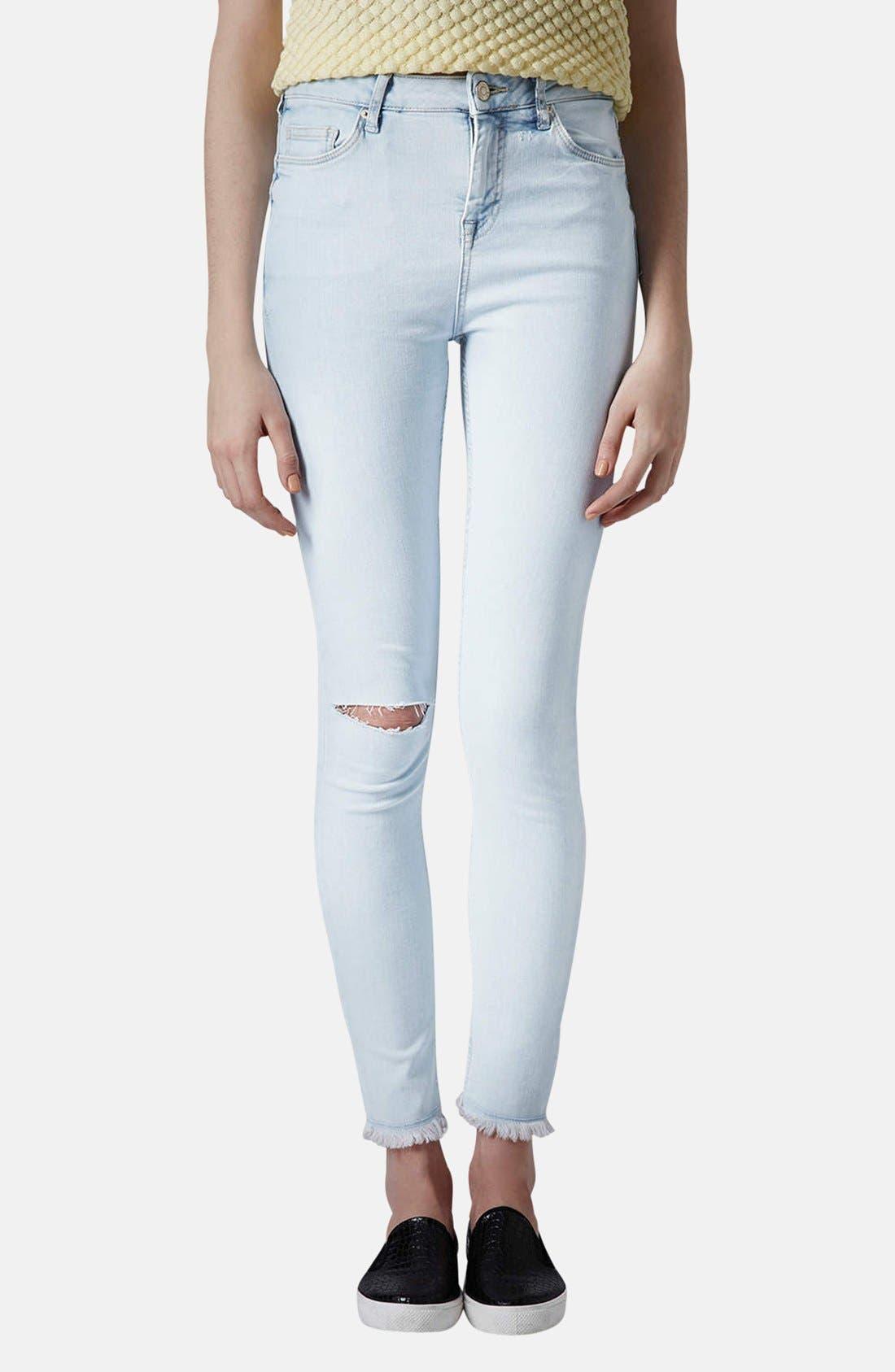 Main Image - Topshop Moto 'Jamie' High Rise Skinny Jeans (Light Blue) (Regular & Short)
