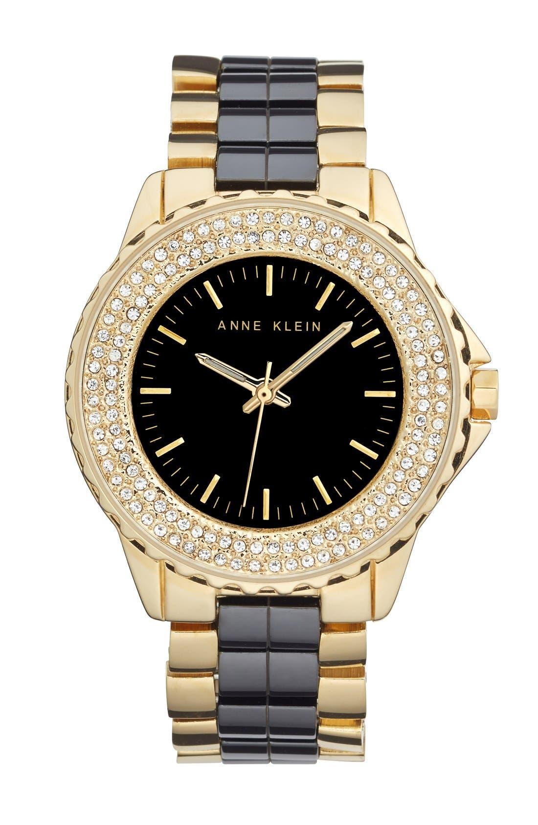 Main Image - Anne Klein Crystal Bezel Ceramic Link Bracelet Watch, 36mm