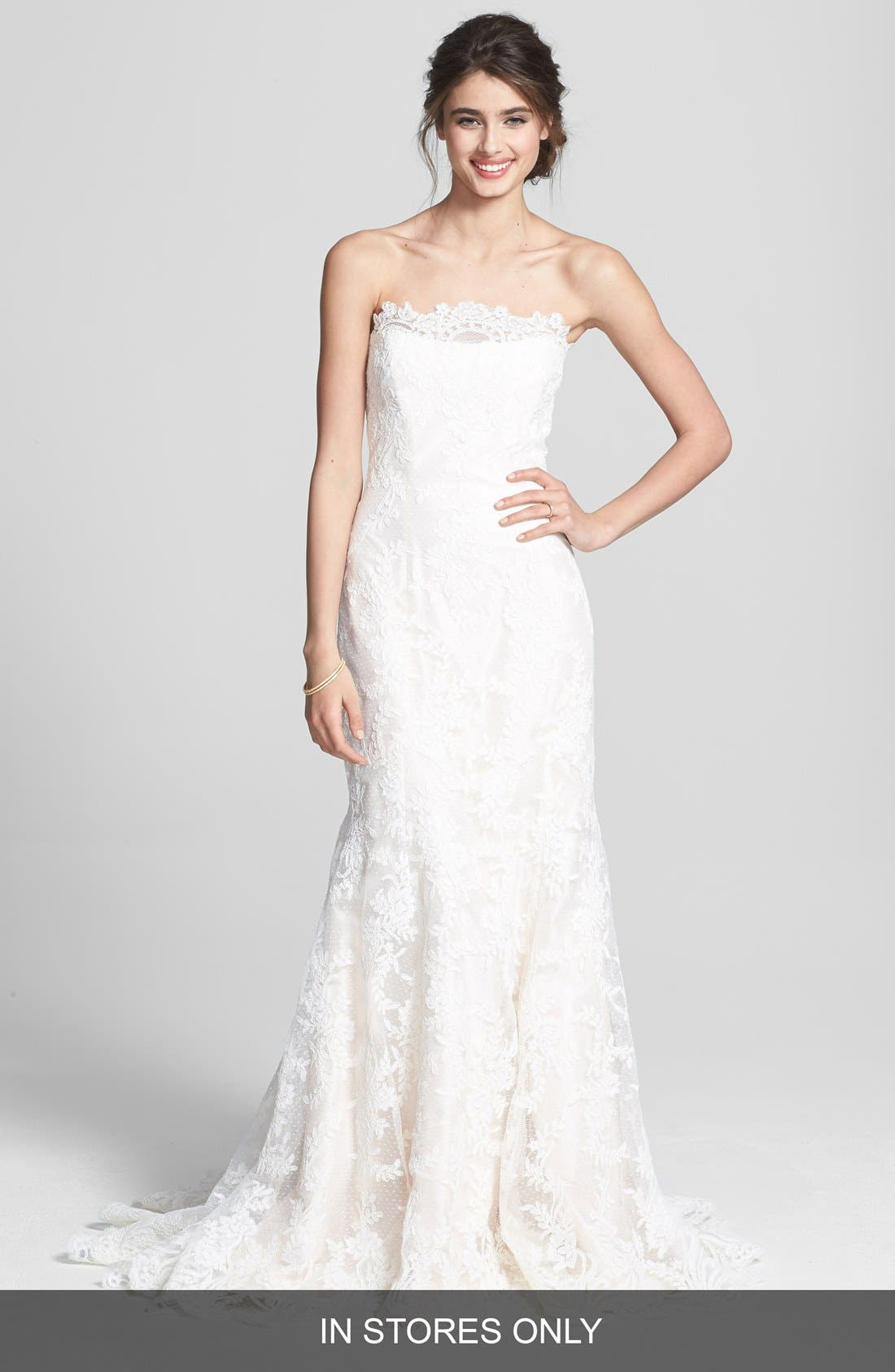 Alternate Image 1 Selected - Legends by Romona Keveza Fluted Lace Silk Gown (In Stores Only)