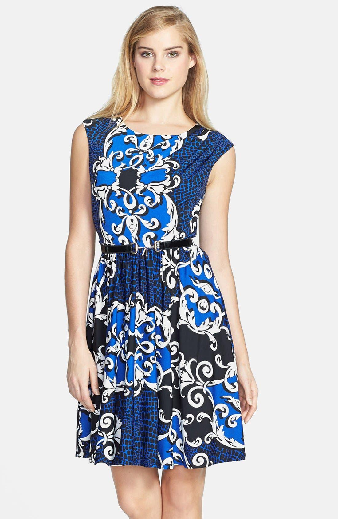 Main Image - Ellen Tracy Print Jersey Fit & Flare Dress