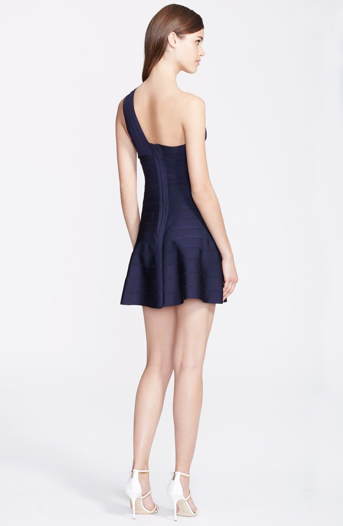 Alternate Image 2  - Herve Leger One-Shoulder A-Line Dress