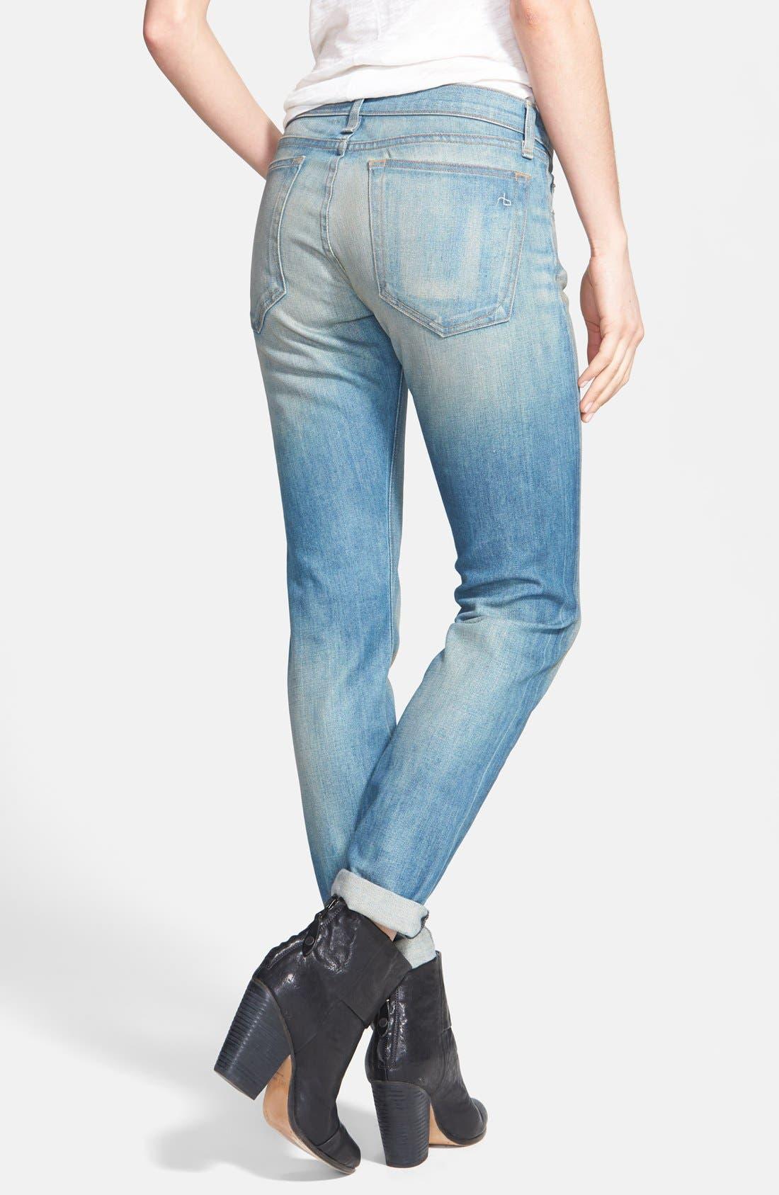 Alternate Image 2  - rag & bone/JEAN 'The Dre' Slim Fit Boyfriend Jeans (Greencast)