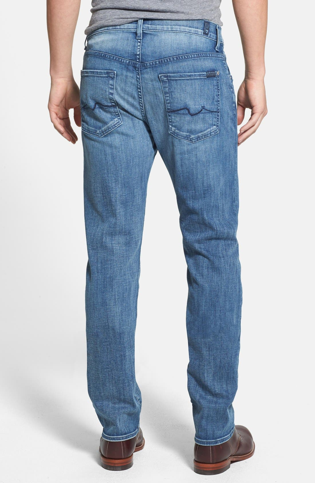 Alternate Image 2  - 7 For All Mankind® 'The Straight - Luxe Performance' Tapered Straight Leg Jeans (Capri Breeze)