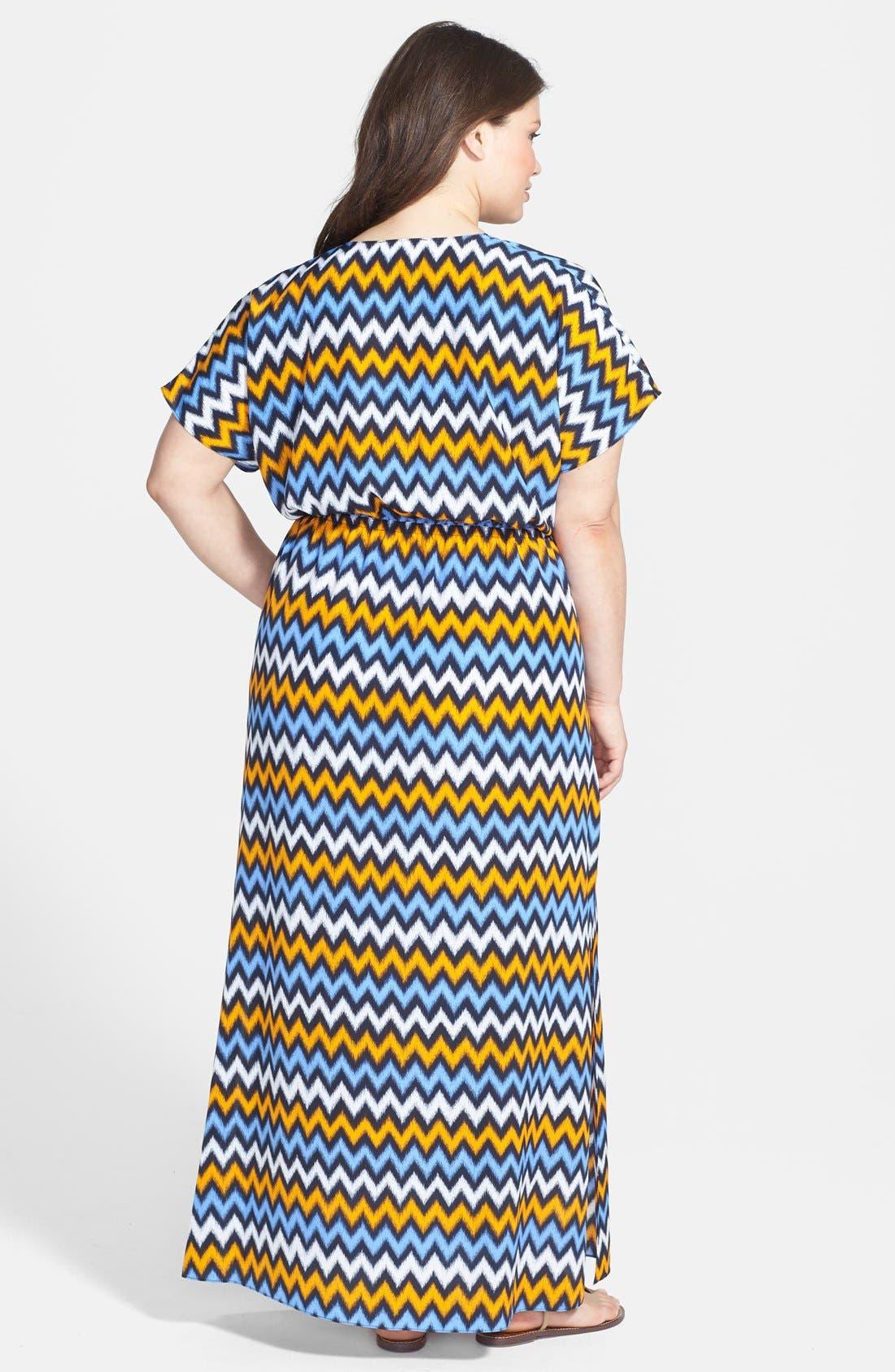 Alternate Image 2  - MICHAEL Michael Kors Ikat Chevron Print V-Neck Maxi Dress (Plus Size)