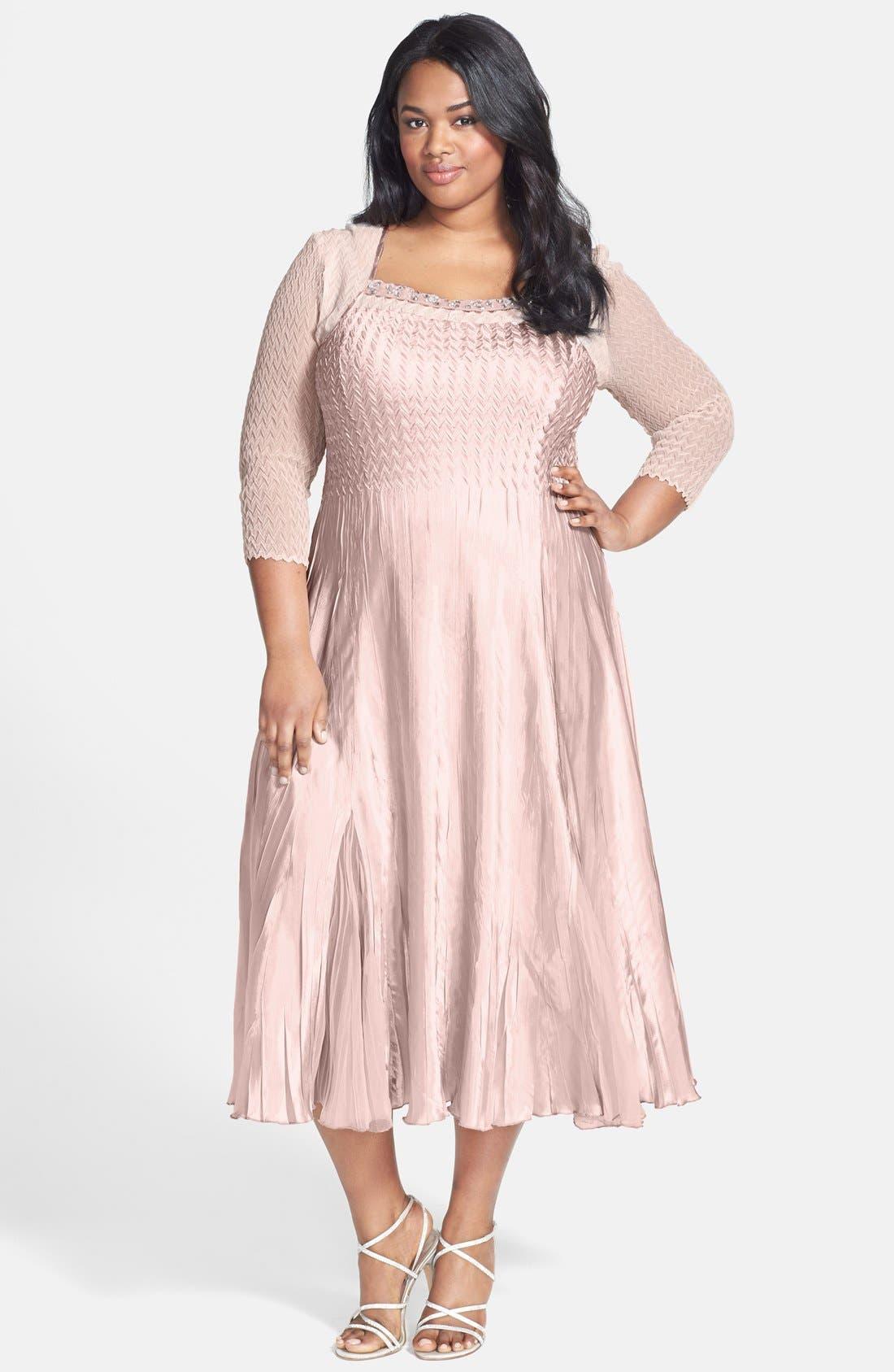 Main Image - Komarov Embellished Square Neck Chiffon & Charmeuse Dress (Plus Size)