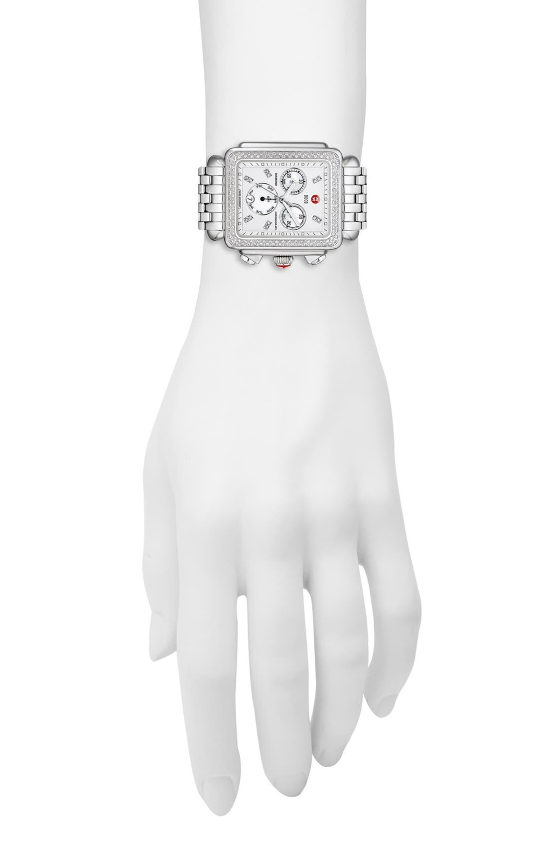Alternate Image 2  - MICHELE 'Deco XL Diamond' Diamond Dial Watch Case, 37mm x 38mm
