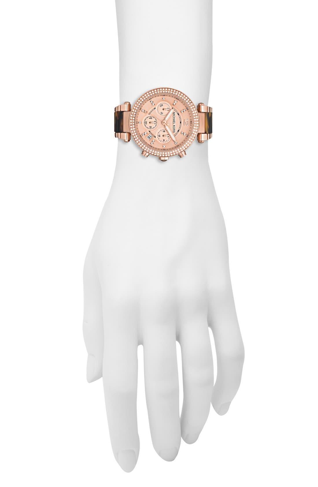 Alternate Image 2  - Michael Kors 'Parker' Blush Acetate Link Chronograph Watch, 39mm
