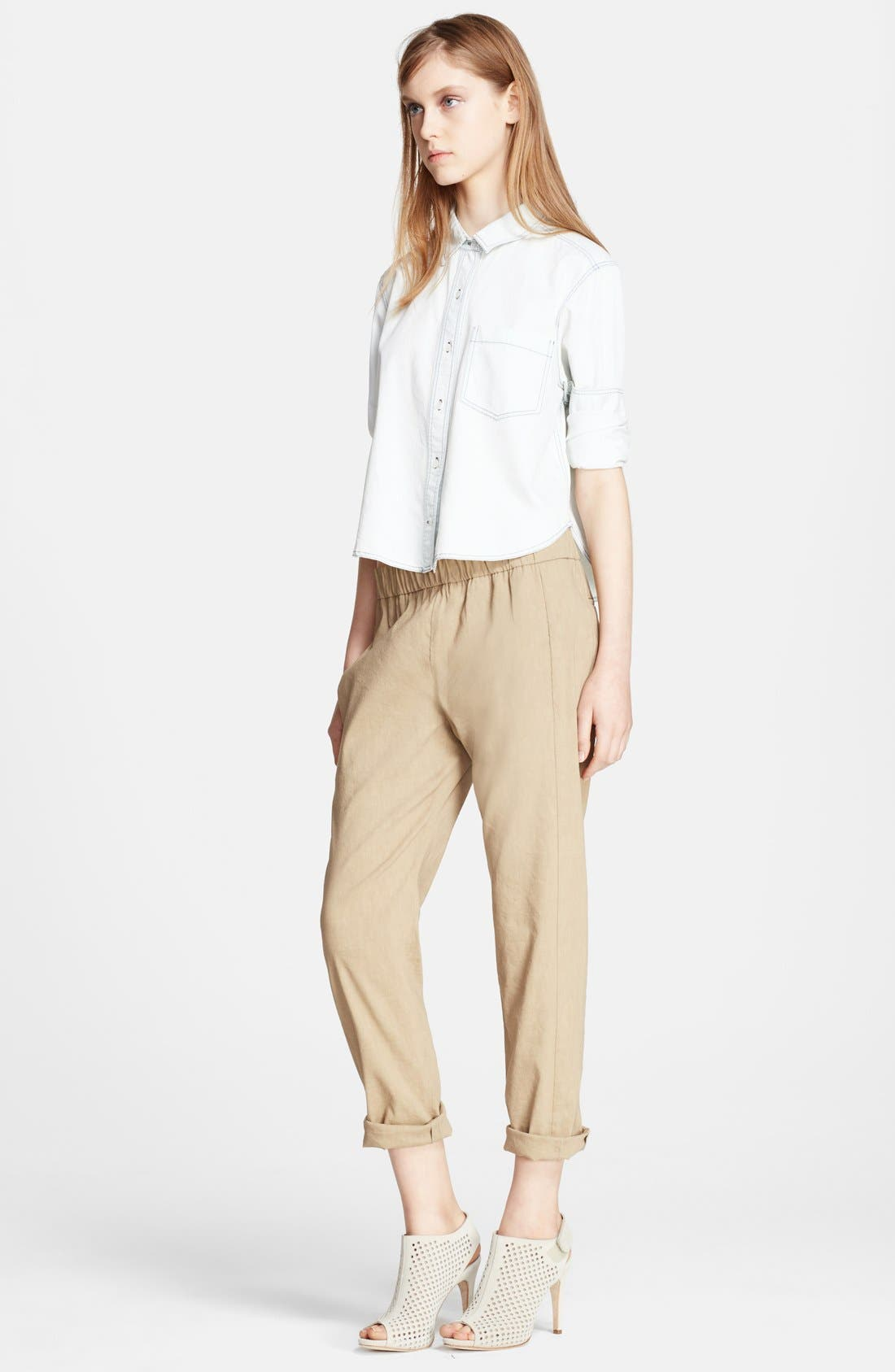 Alternate Image 4  - Theory 'Korene' Crop Linen Blend Pants