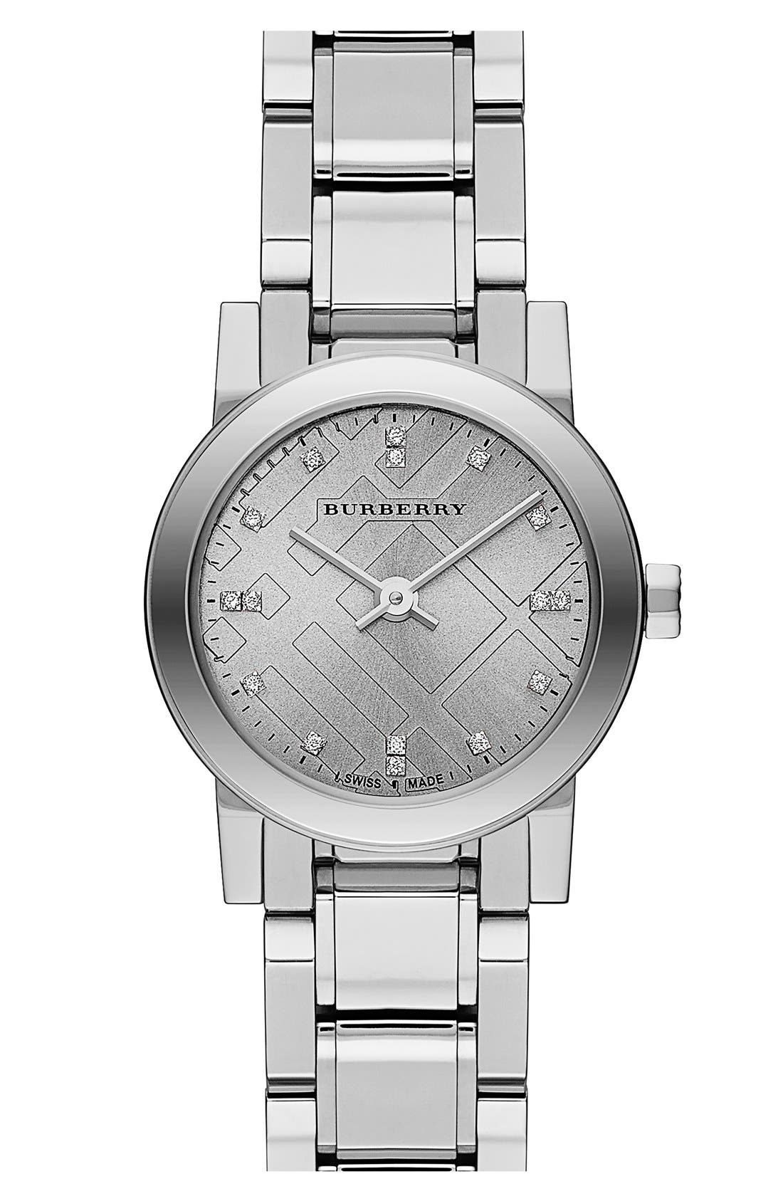 Alternate Image 1 Selected - Burberry 'New Classic' Small Diamond Dial Bracelet Watch, 26mm (Regular Retail Price: $695.00)