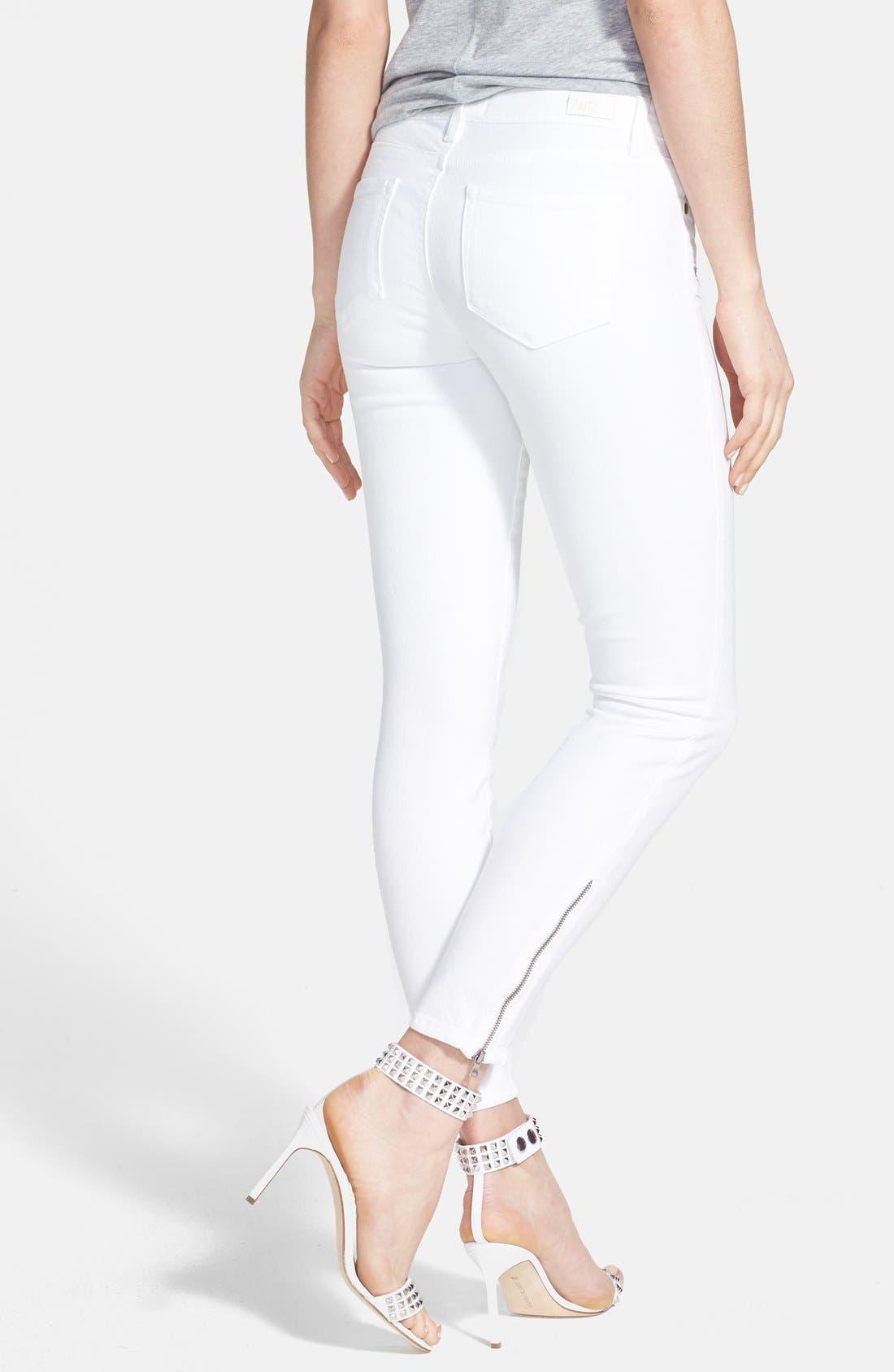 Alternate Image 2  - Paige Denim 'Jane' Zip Detail Ultra Skinny Jeans (Optic White)