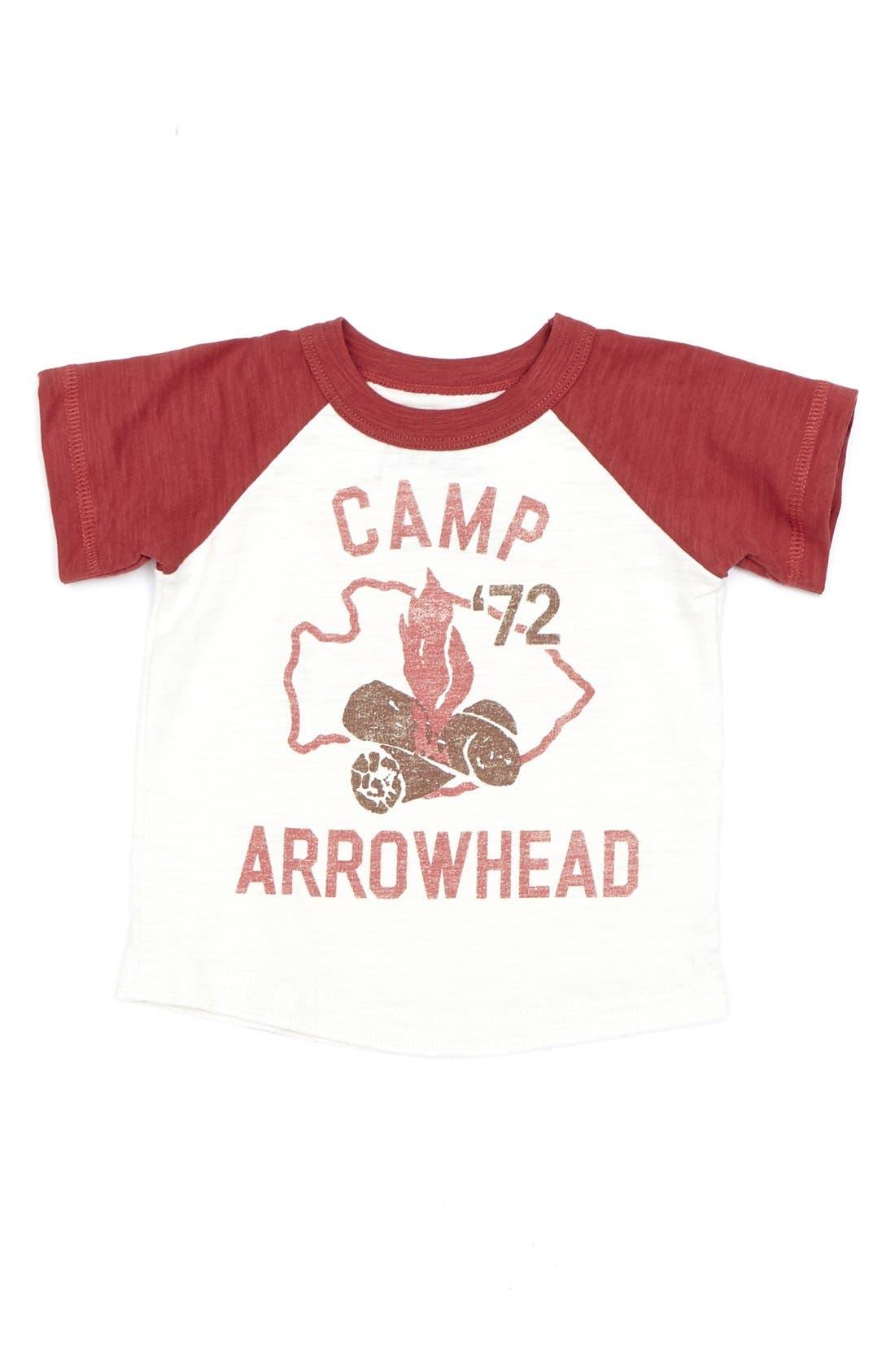 Main Image - Peek 'Happy Camper' Raglan Sleeve Slub Cotton T-Shirt (Baby Boys)