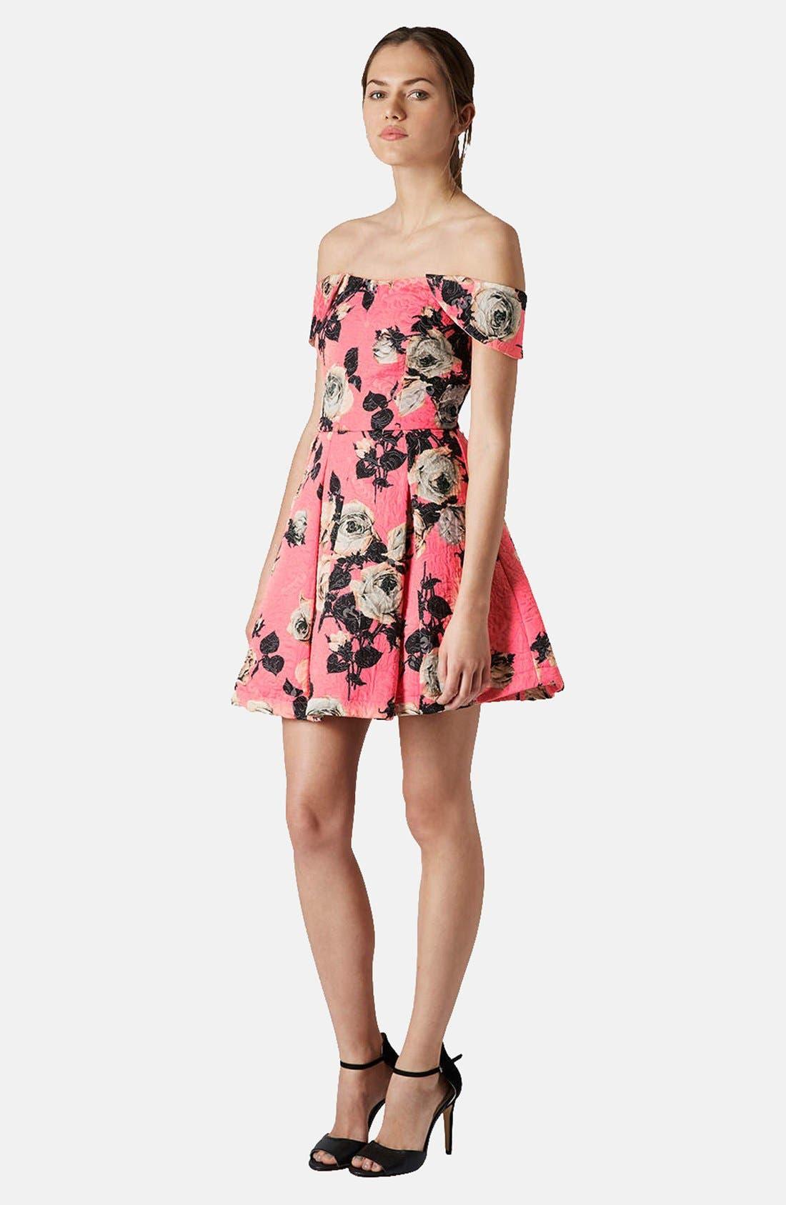 Alternate Image 5  - Topshop 'Bardot' Textured Floral Off Shoulder Fit & Flare Dress