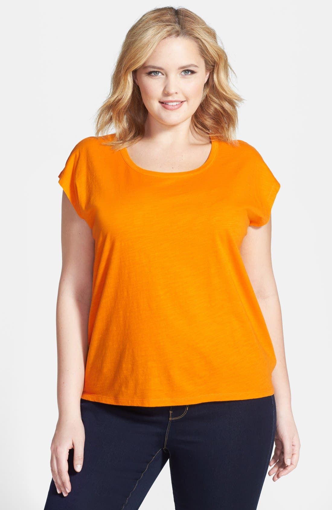 Alternate Image 1 Selected - MICHAEL Michael Kors Slubbed Cotton High/Low Tee (Plus Size)