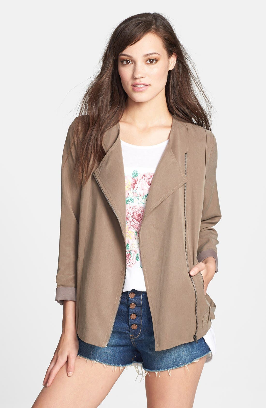 Alternate Image 1 Selected - ASTR Collarless Slouchy Roll Sleeve Jacket