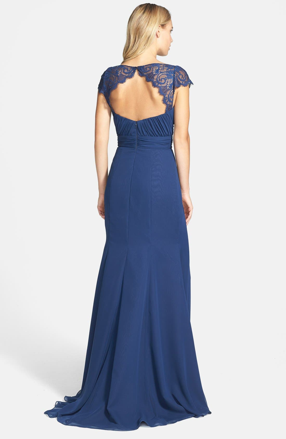 Alternate Image 2  - Jim Hjelm Occasions 'Luminescent' Lace Sleeve Chiffon Gown