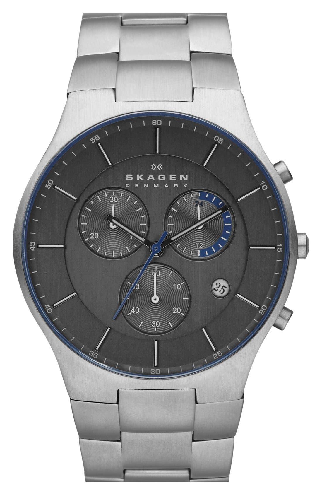 Main Image - Skagen 'Balder' Chronograph Titanium Bracelet Watch, 42mm