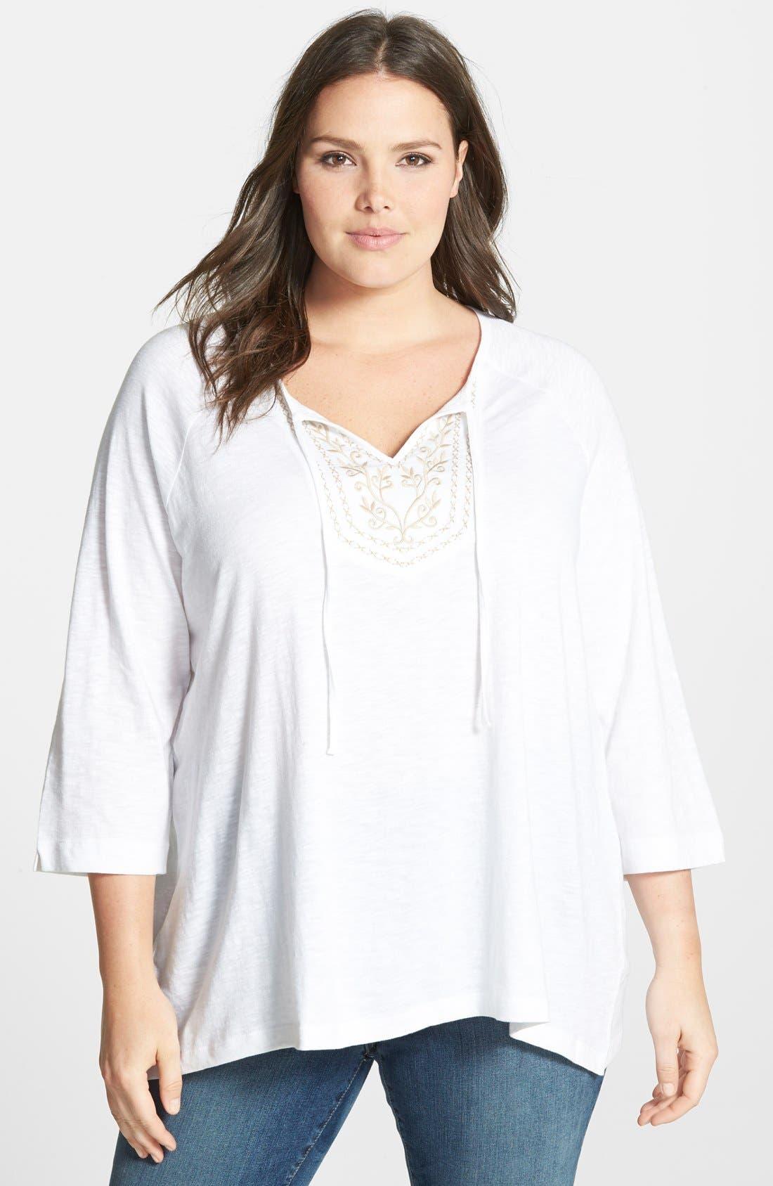 Alternate Image 1 Selected - Sejour 'Super Slub' Cotton Knit Tunic (Plus Size)