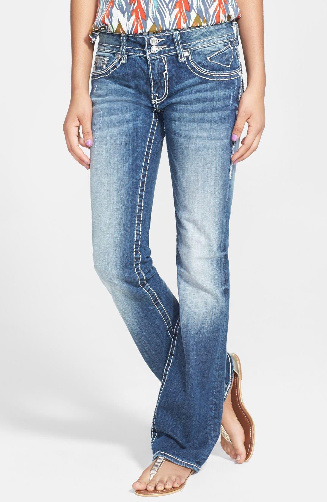 Alternate Image 2  - Vigoss Embellished Bootcut Jeans (Medium) (Juniors)