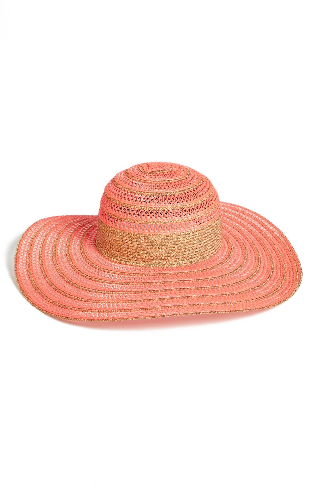 Main Image - PACKABLE METALLIC OPEN WEAVE FLOPPY HAT