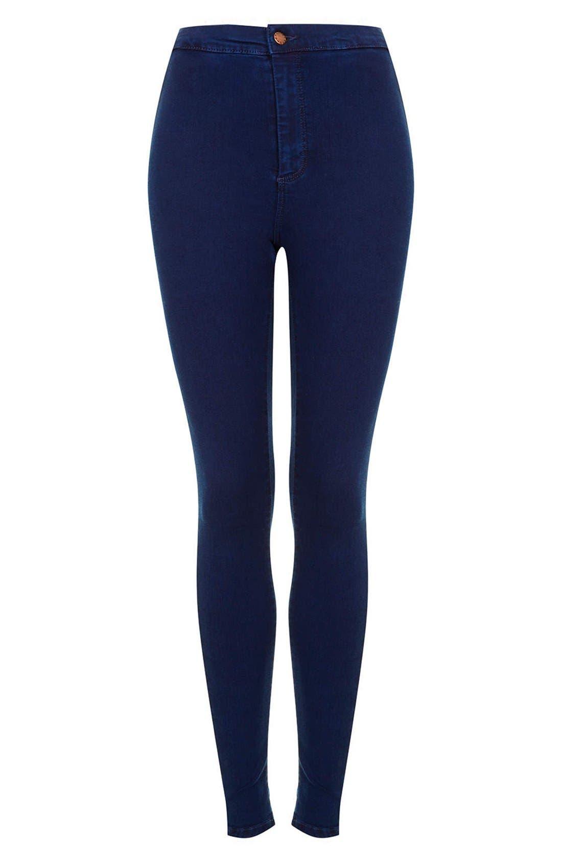 Alternate Image 3  - Topshop Moto 'Joni' High Rise Skinny Jeans (Blue) (Short)