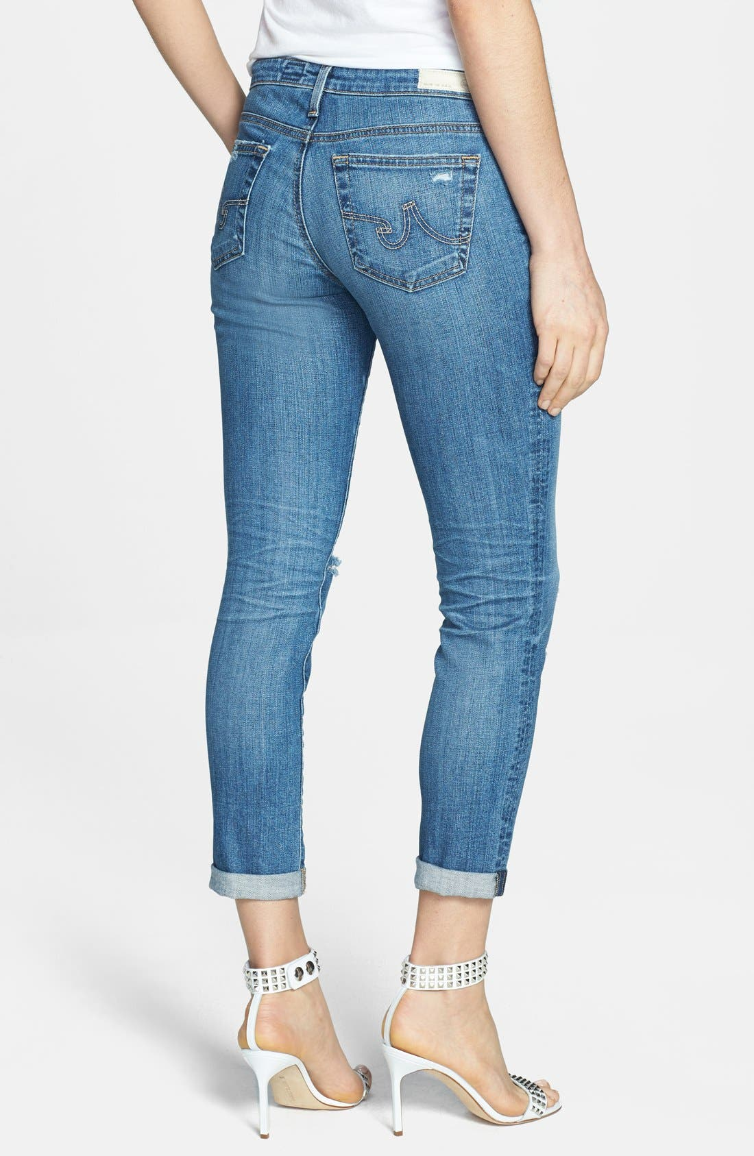 Alternate Image 2  - AG 'Stilt' Distressed Roll Cuff Cigarette Jeans (18 Year Flyaway)