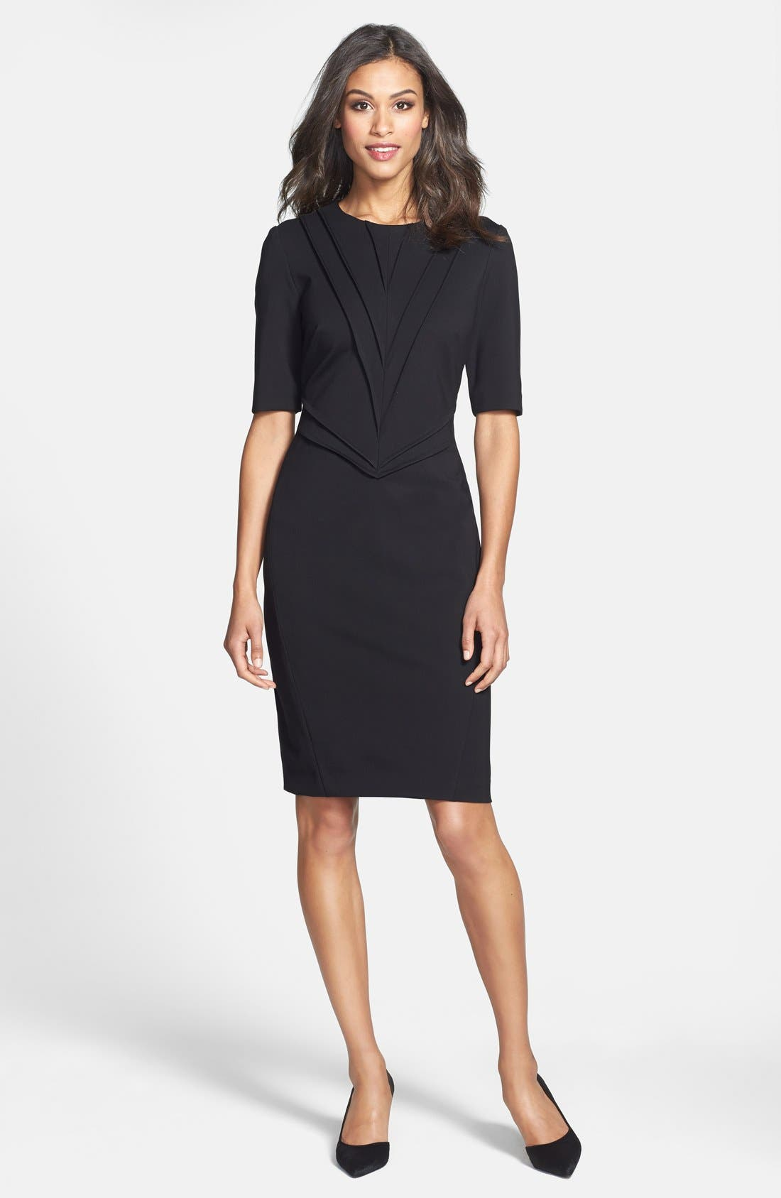 Alternate Image 3  - Taylor Dresses Pintuck Detail Ponte Sheath Dress