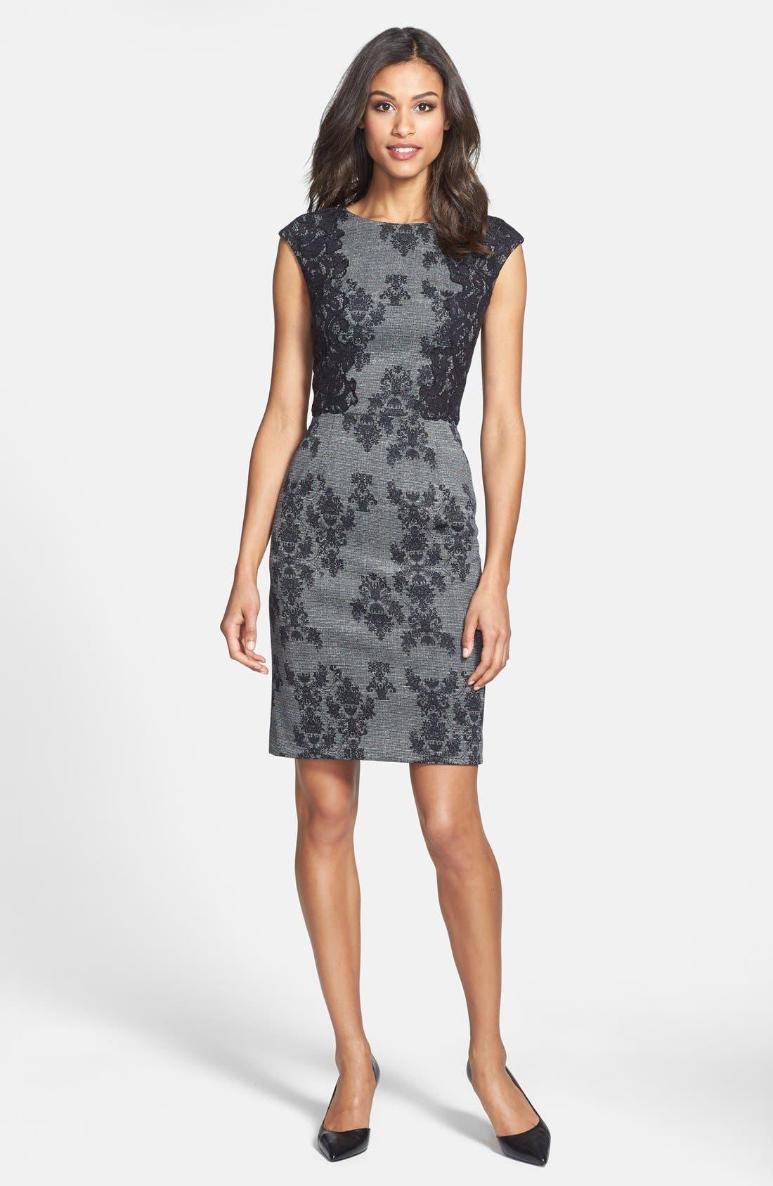 Alternate Image 3  - Adrianna Papell Placed & Print Lace Sheath Dress (Regular & Petite)