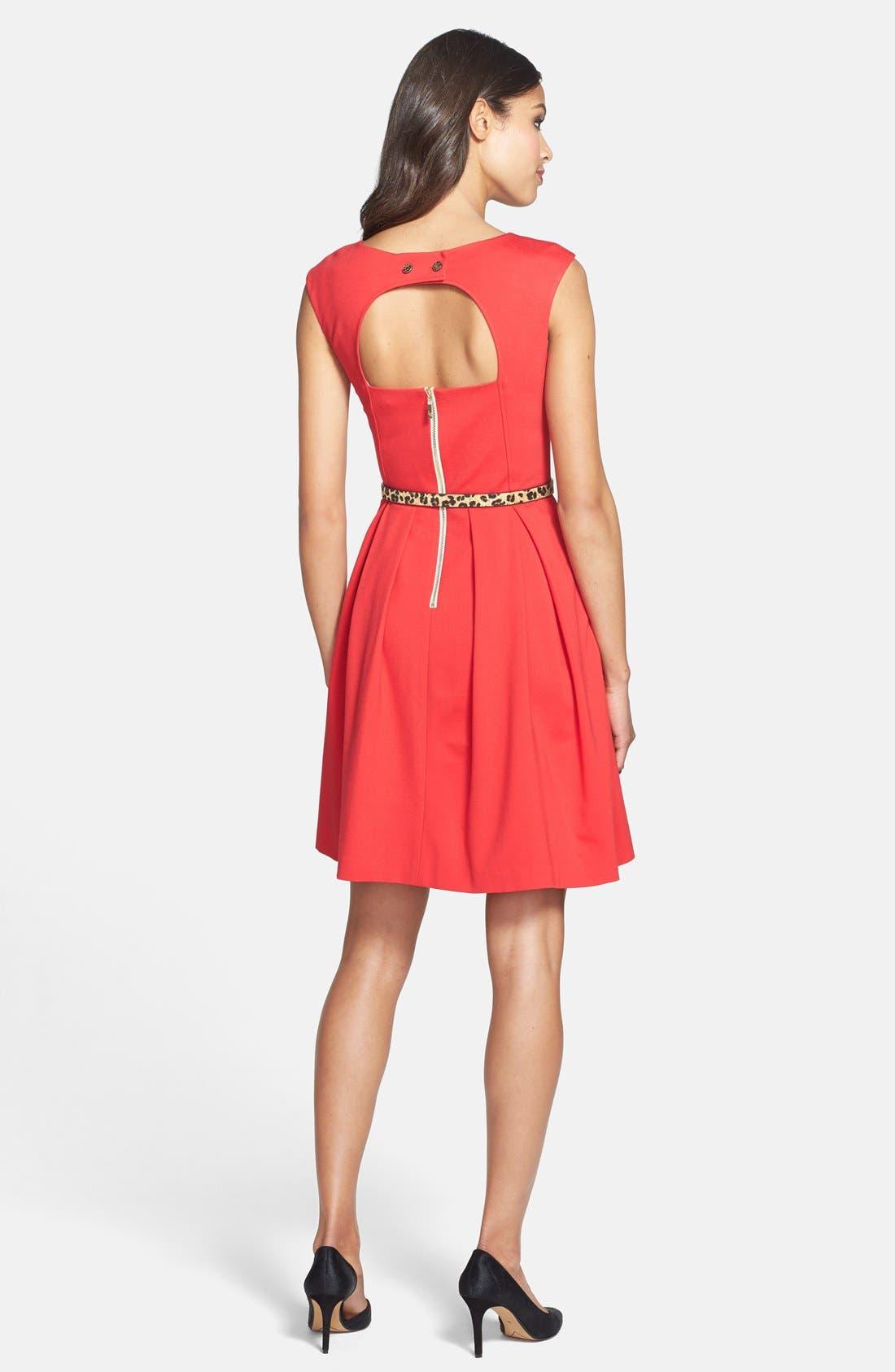 Alternate Image 2  - Eliza J Cutout Back Belted Ponte Knit Fit & Flare Dress