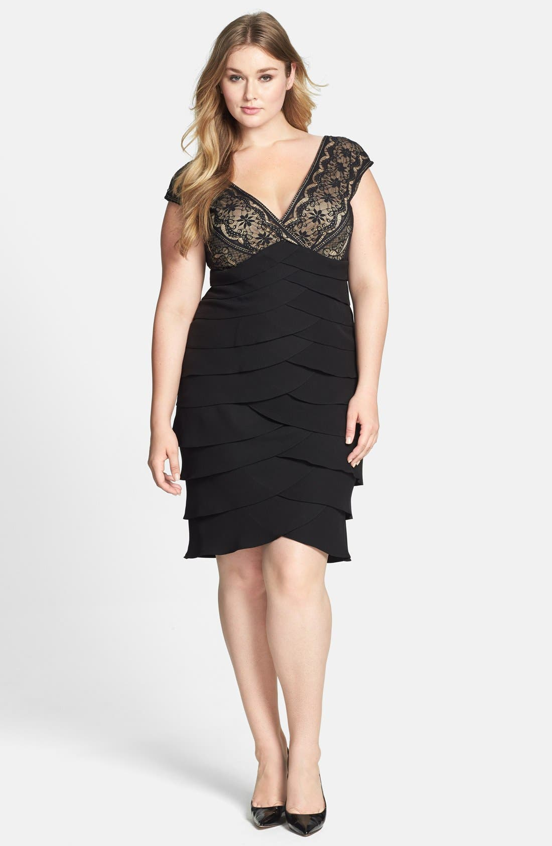 Alternate Image 1 Selected - Jessica Howard Lace Bodice Tiered Crepe Dress (Plus Size)