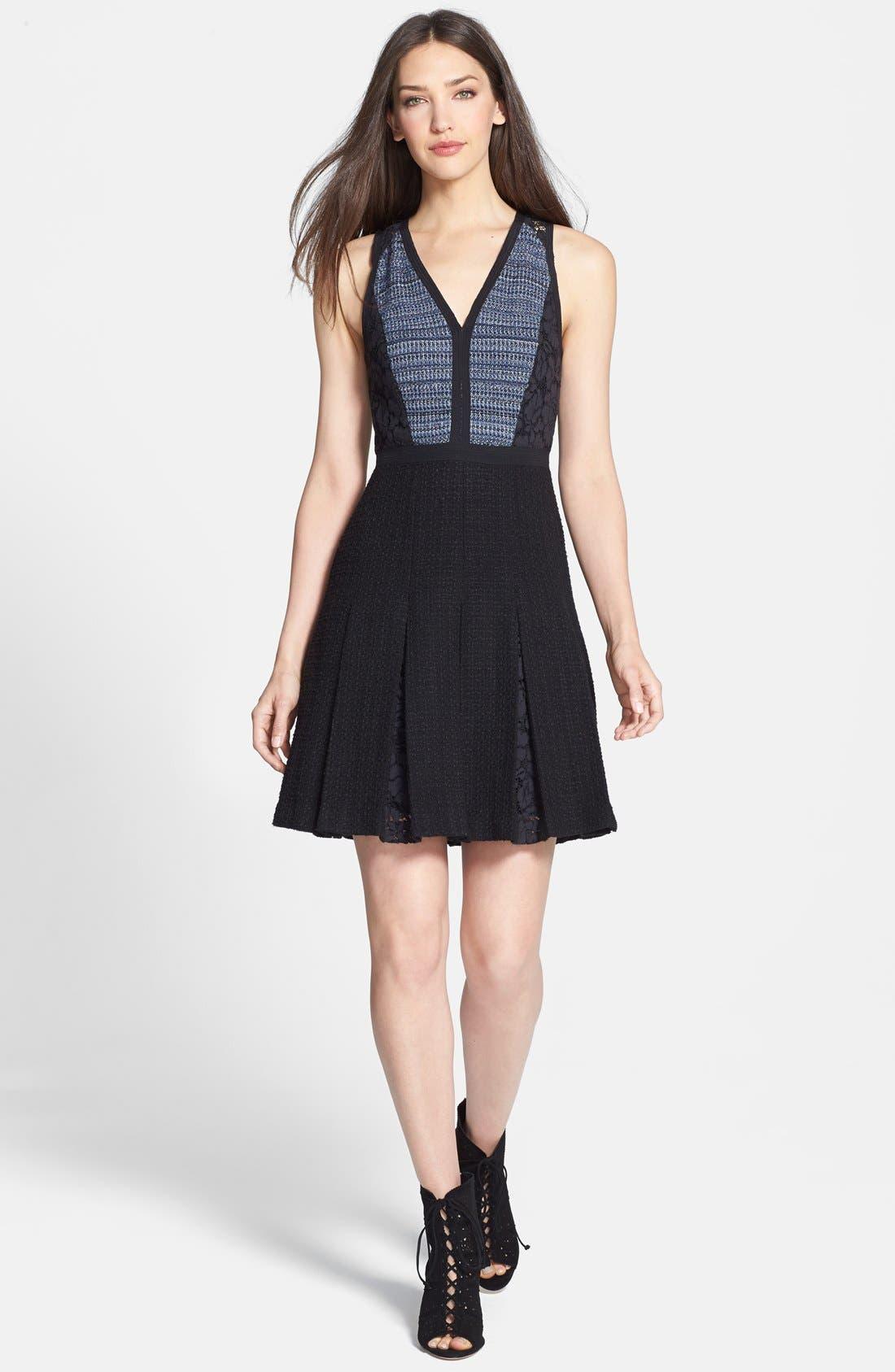 Main Image - Rebecca Taylor Lace & Tweed A-Line Dress