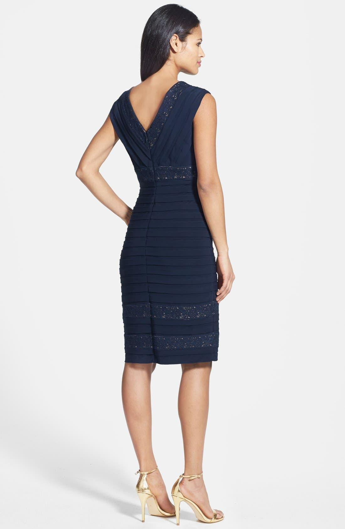 Alternate Image 2  - Adrianna Papell Lace Inset Banded Sheath Dress