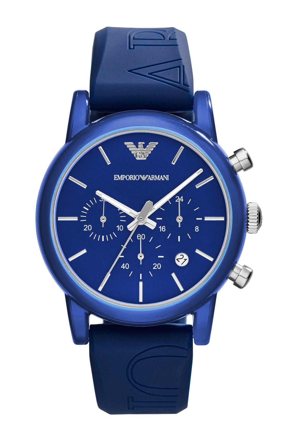 Main Image - Emporio Armani Chronograph Silicone Strap Watch, 41mm