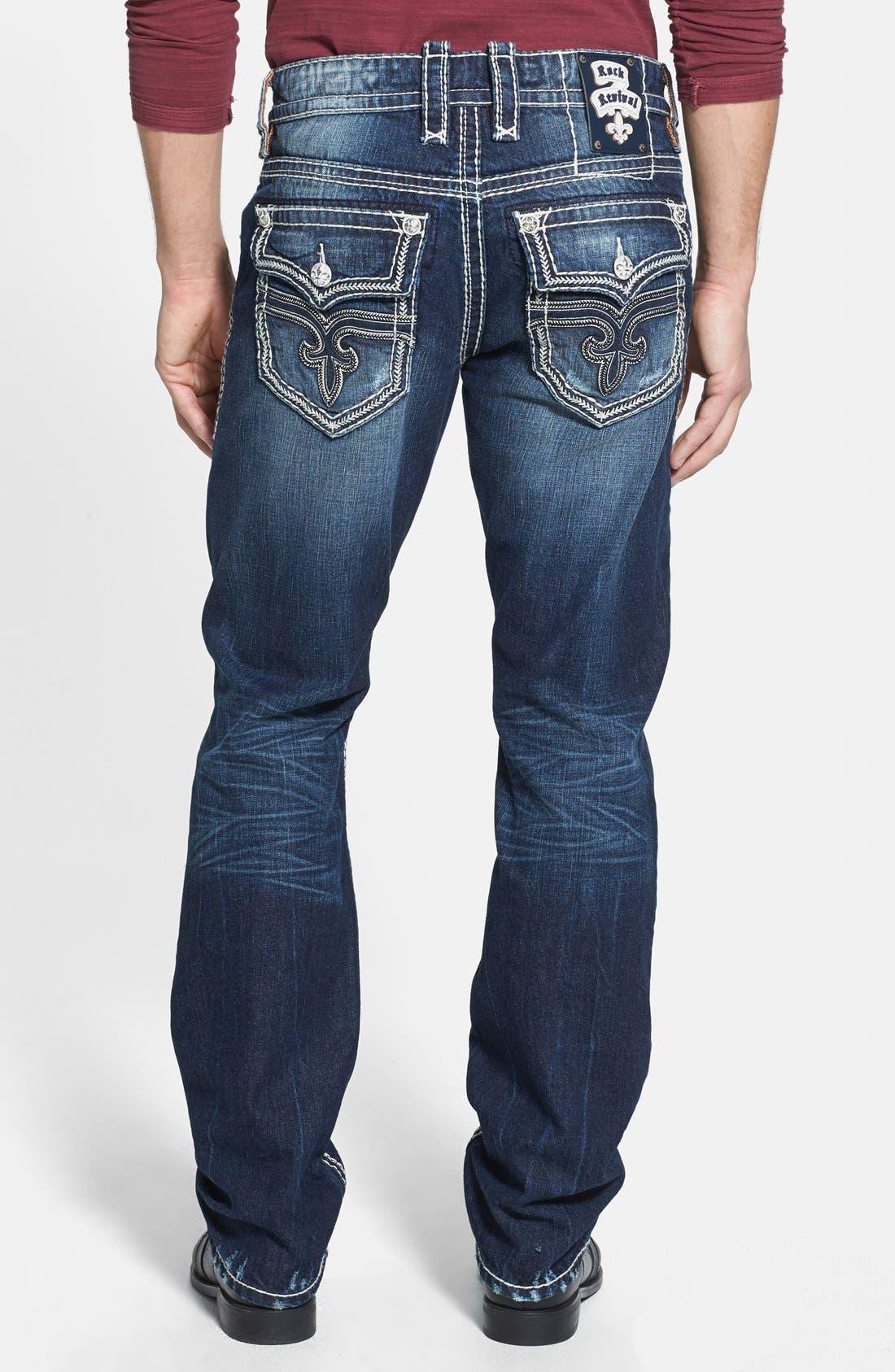 Main Image - Rock Revival 'Saul' Straight Leg Jeans (Dark Blue)