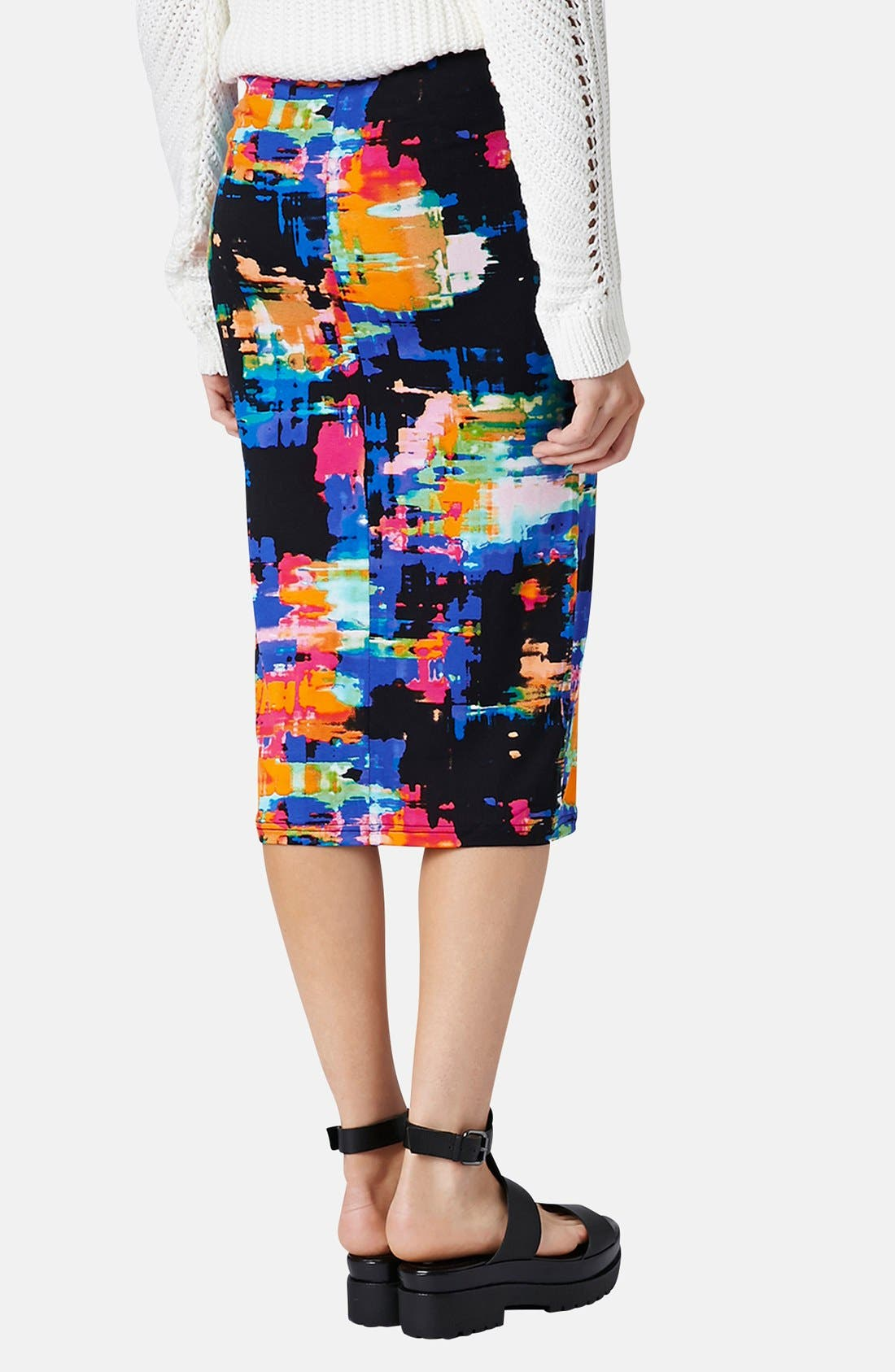 Alternate Image 2  - Topshop Print Tube Skirt