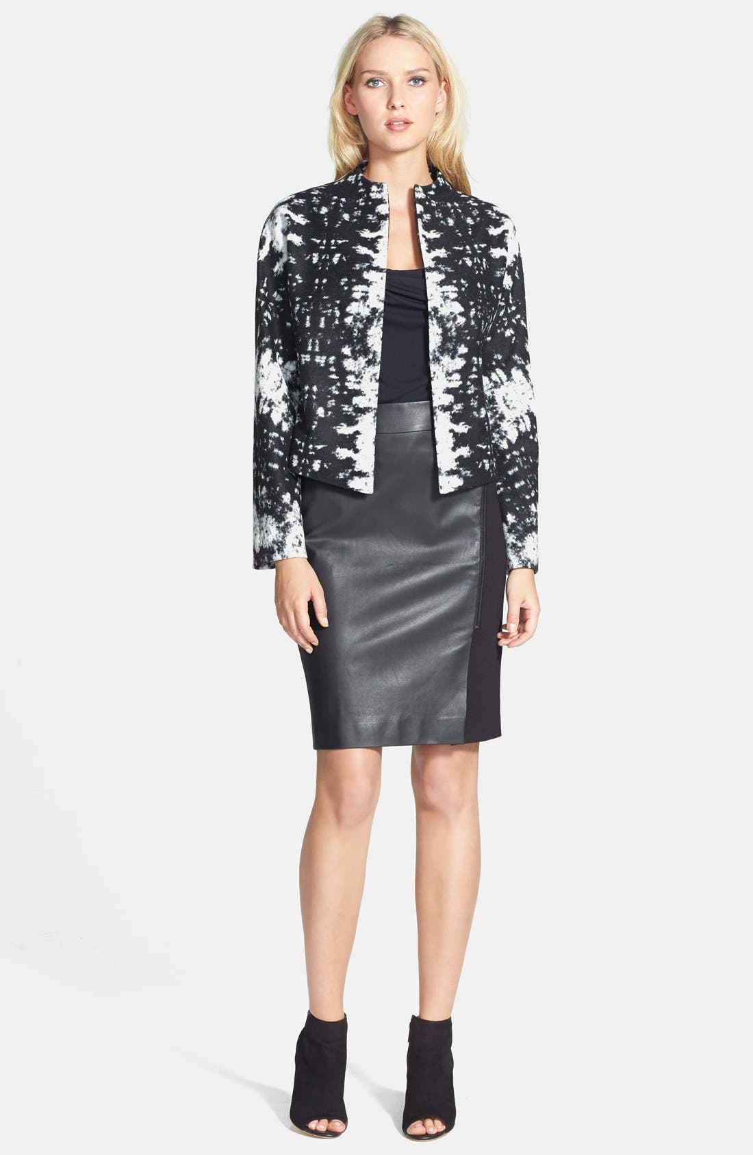 Alternate Image 4  - Classiques Entier® Leather Front Ponte Skirt