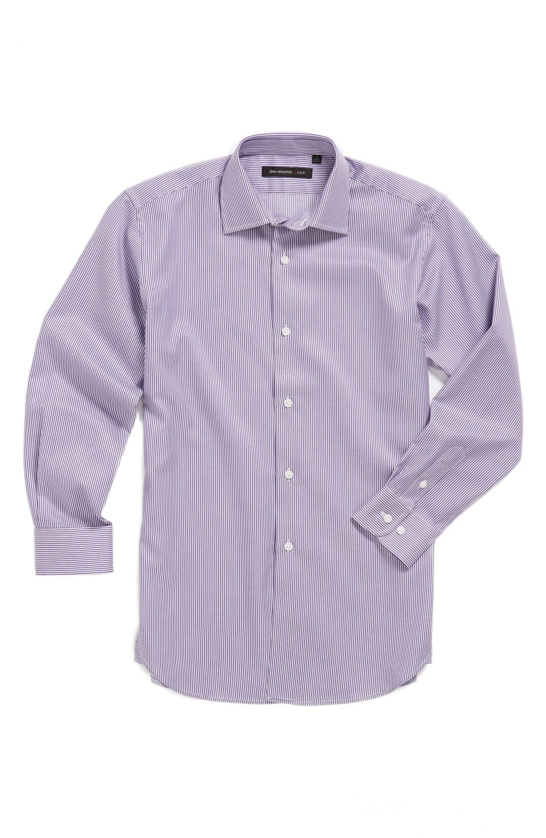 Alternate Image 1 Selected - John Varvatos Star USA Stripe Dress Shirt (Big Boys)