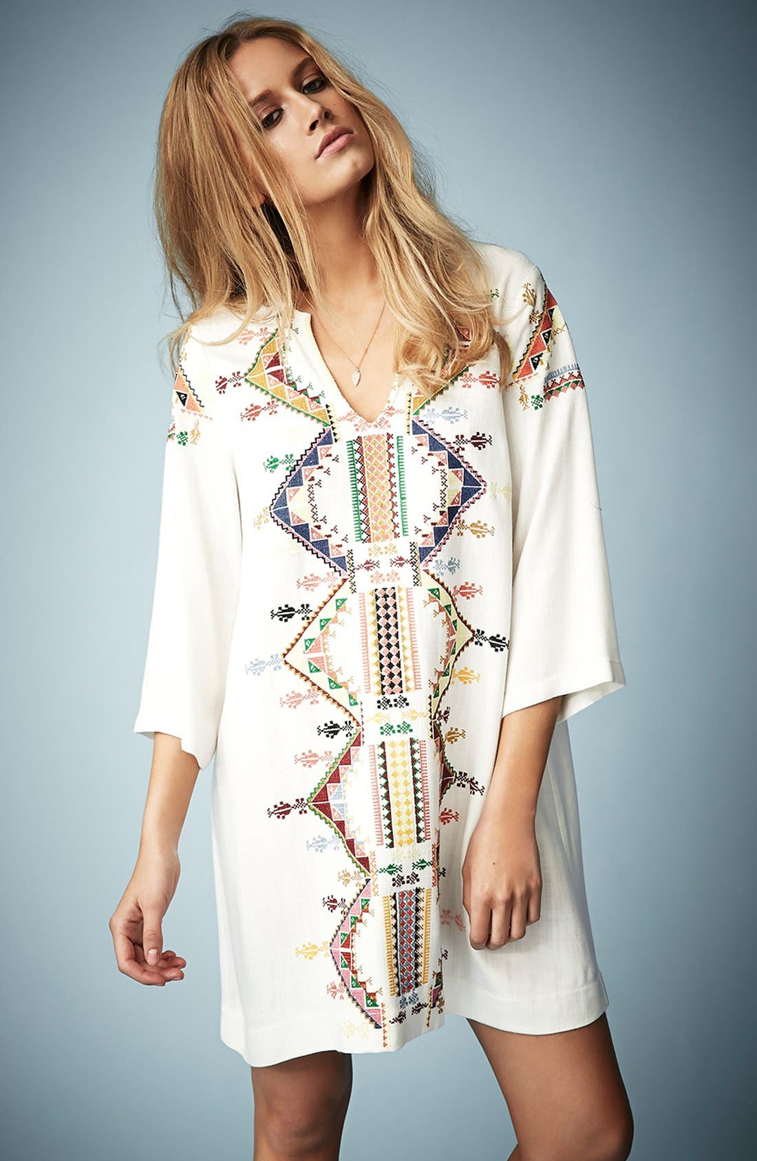 Main Image - Kate Moss for Topshop Embroidered Smock Dress