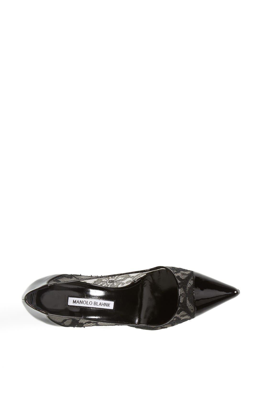 Alternate Image 3  - Manolo Blahnik 'Pacha' Lace & Patent Pointy Toe Pump