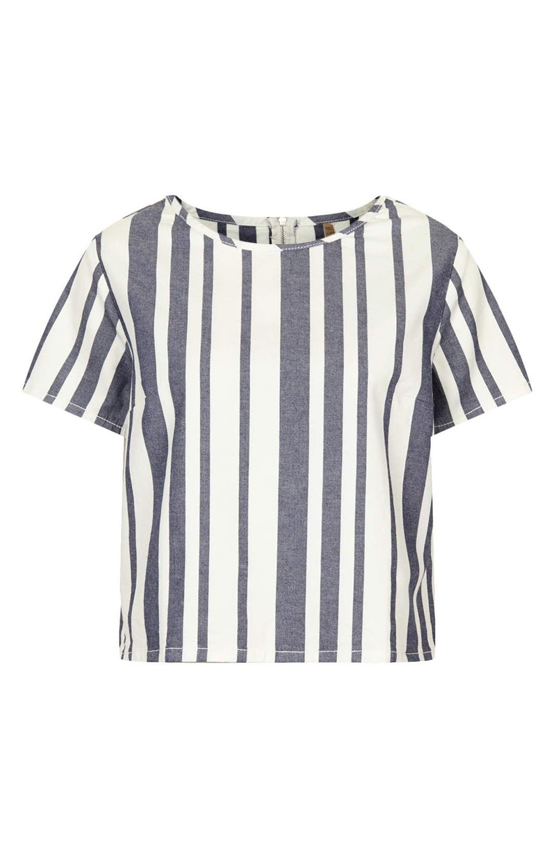 Alternate Image 3  - Topshop Moto Stripe Denim Tee