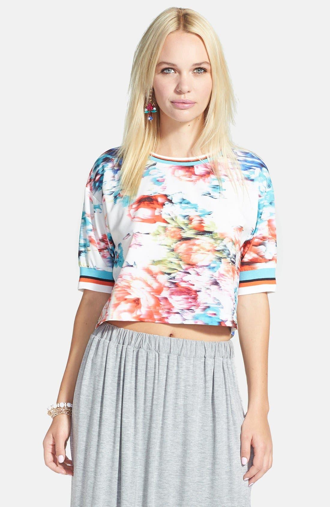 Alternate Image 2  - re:named Floral Print Stripe Trim Tee