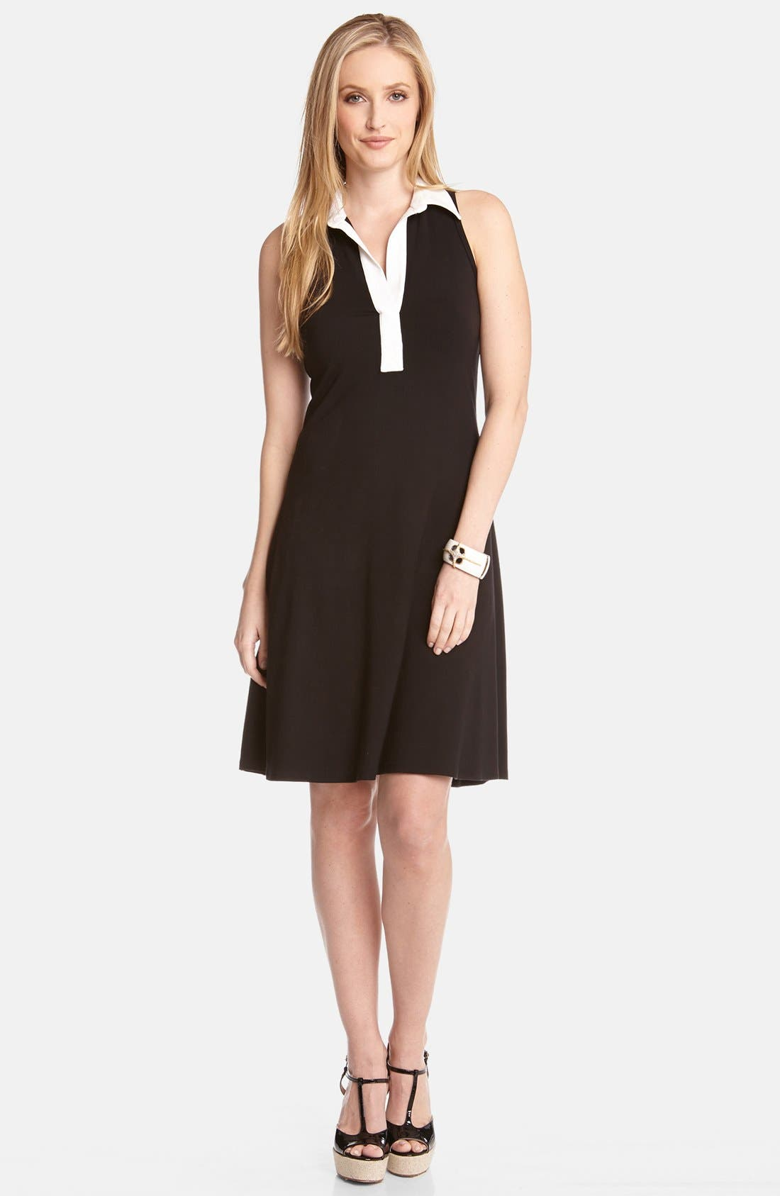 Alternate Image 1 Selected - Karen Kane Contrast Placket Fit & Flare Shirtdress