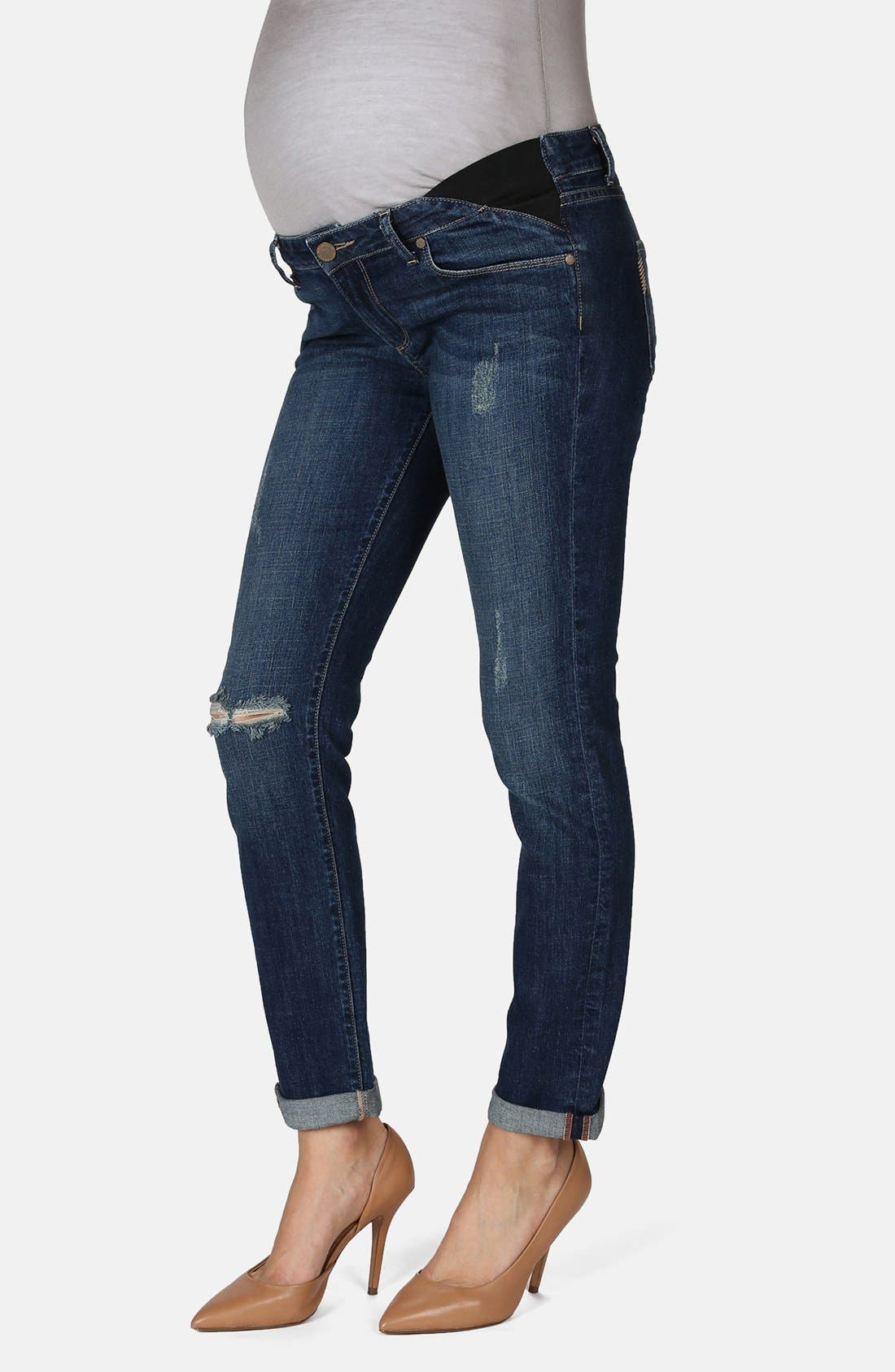 Main Image - Paige Denim 'Jimmy Jimmy' Skinny Boyfriend Maternity Jeans (Tawni Destruction)