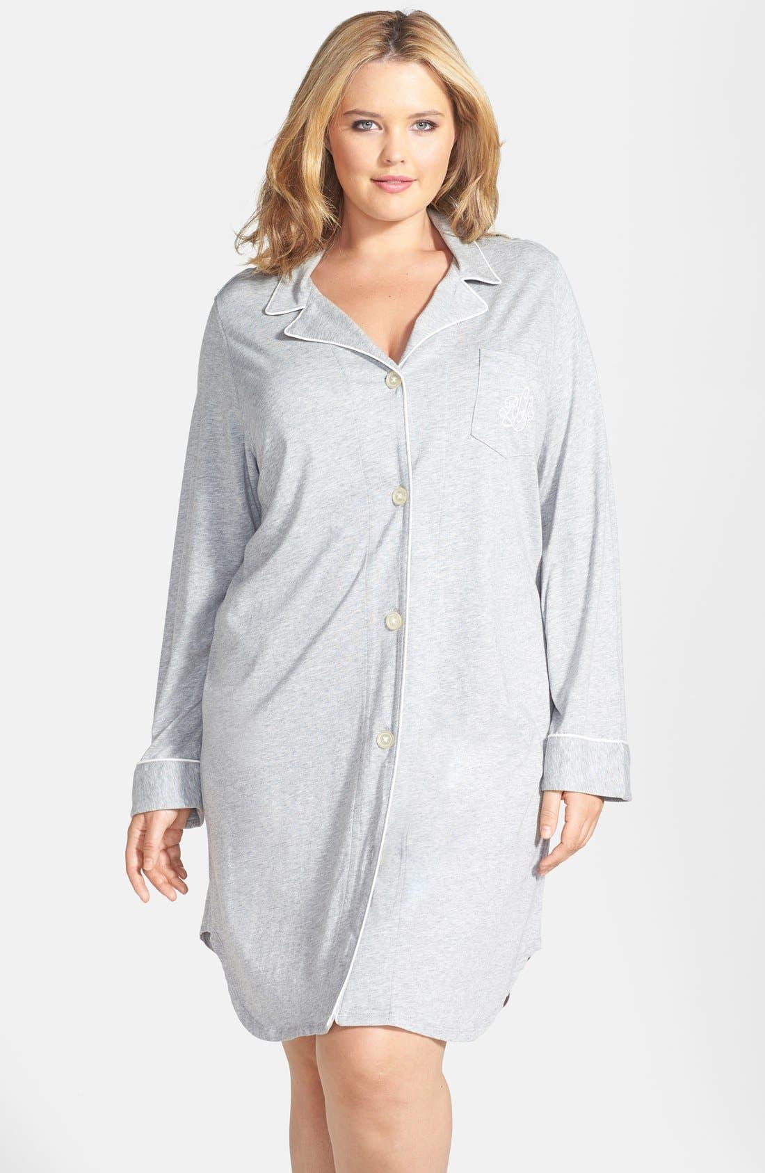 Alternate Image 1 Selected - Lauren Ralph Lauren Knit Nightshirt (Plus Size) (Online Only)