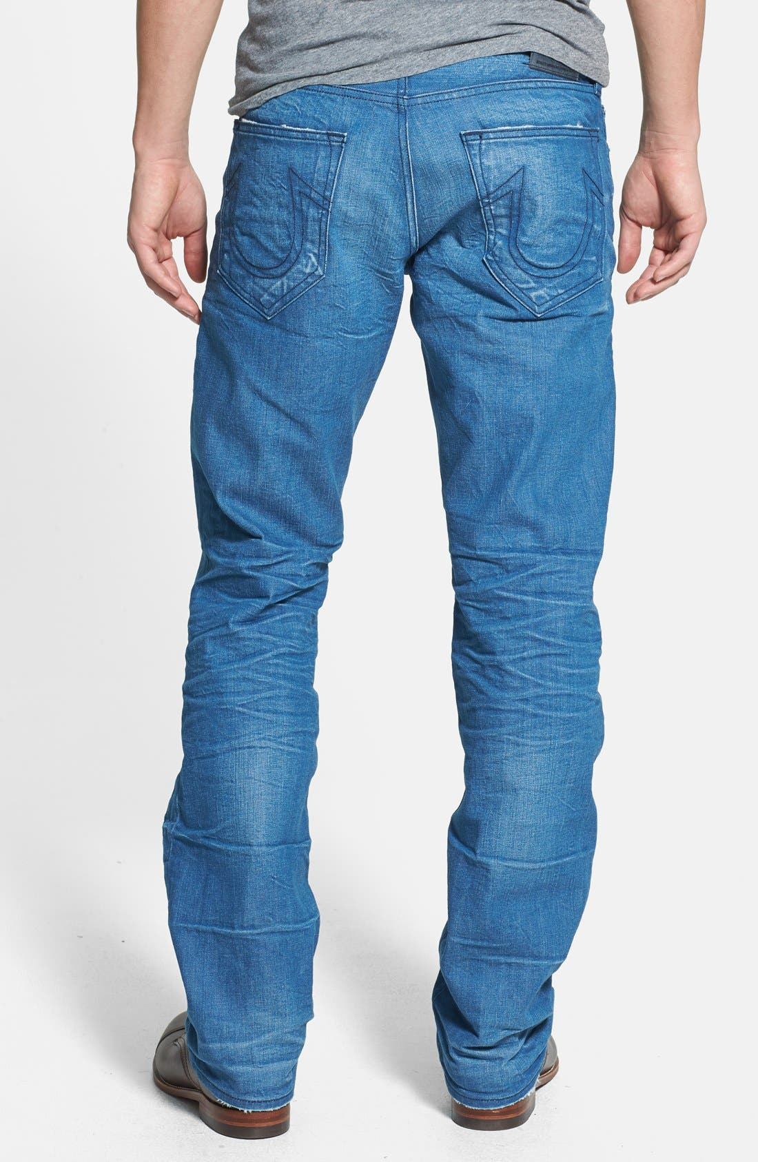 Alternate Image 1 Selected - True Religion Brand Jeans 'Bobby' Straight Leg Jeans (Azql Blue Caps)