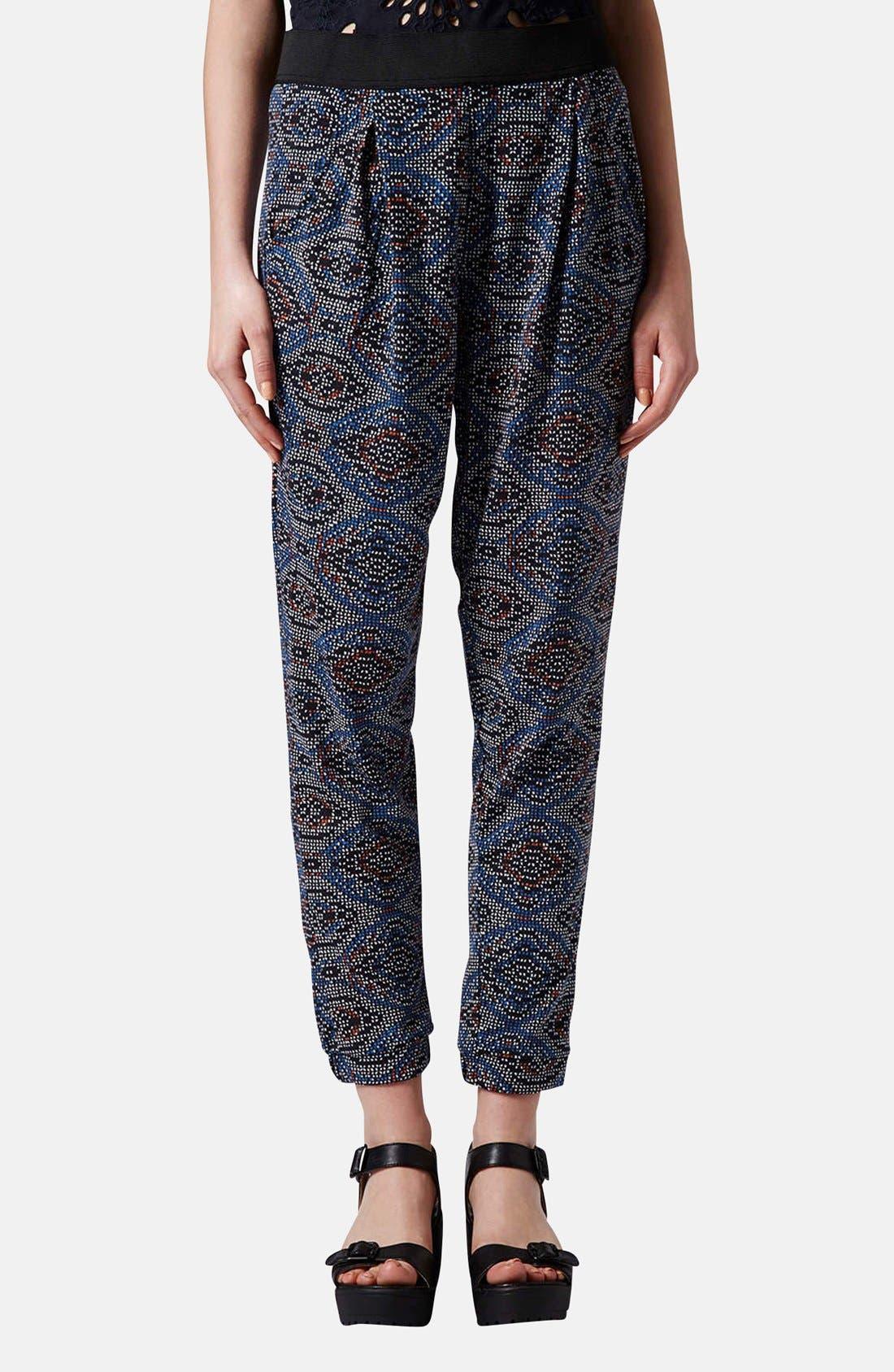 Main Image - Topshop Tile Print Jersey Pants