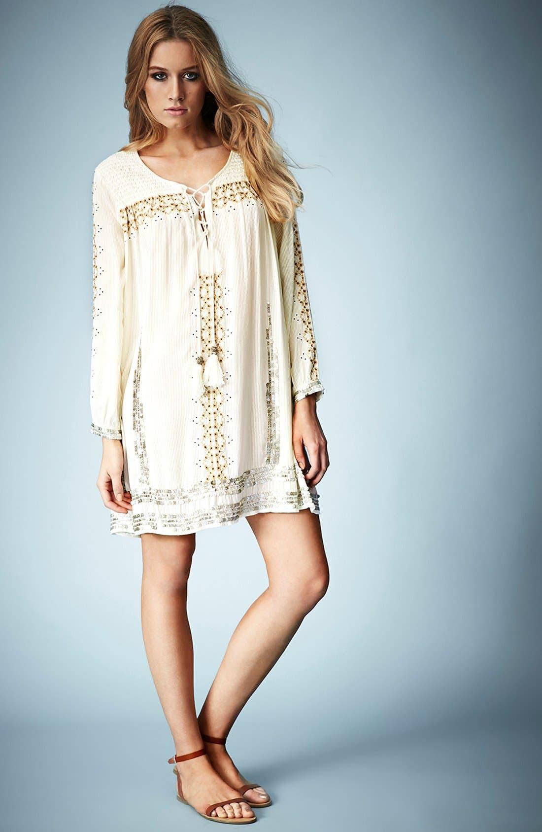 Alternate Image 4  - Kate Moss for Topshop 'Folk' Smocked Dress