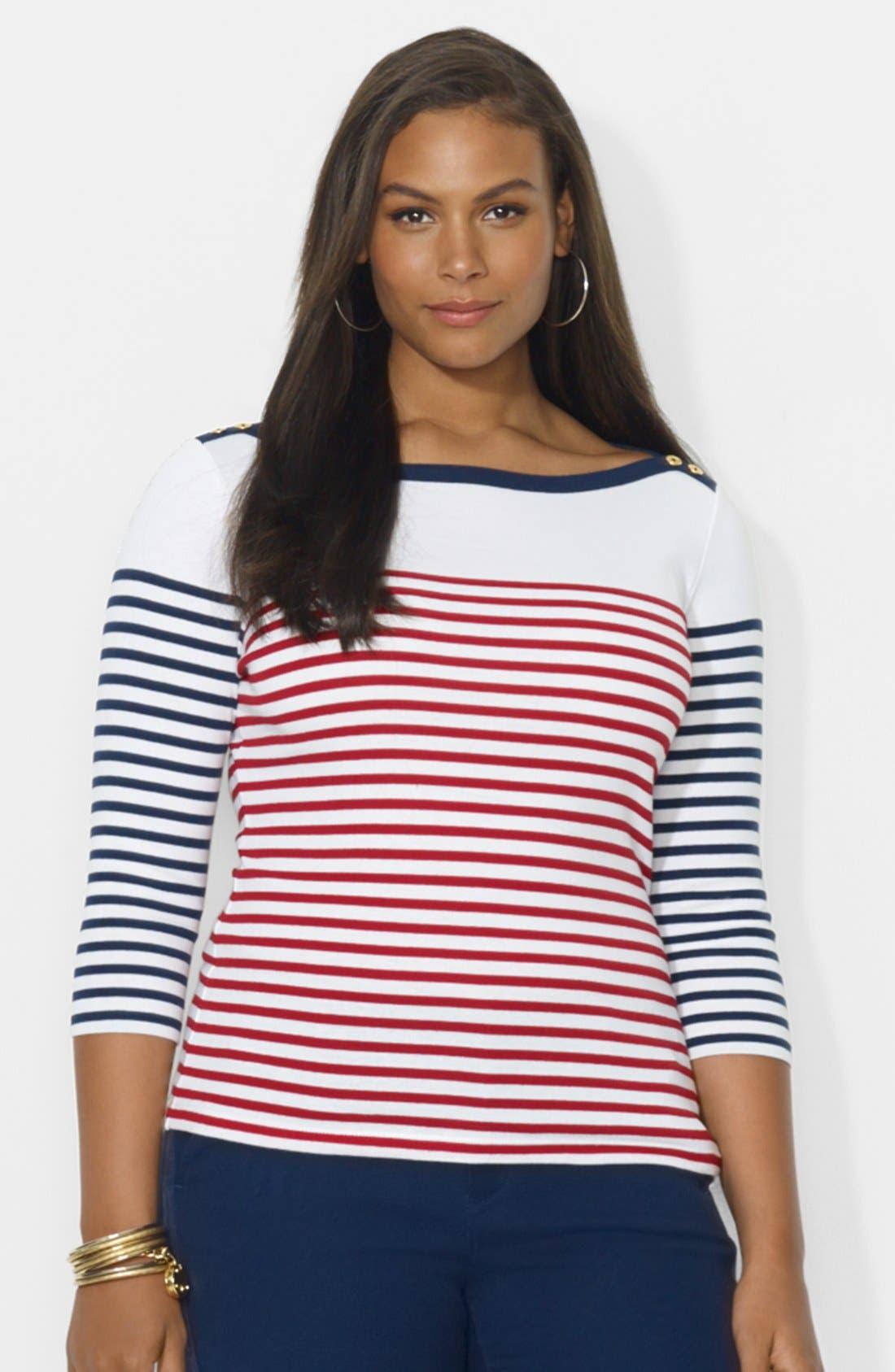 Alternate Image 1 Selected - Lauren Ralph Lauren Contrast Striped Top (Plus Size)