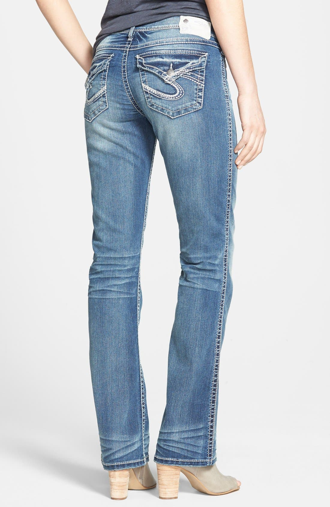 Alternate Image 2  - Silver Jeans Co. 'Tuesday'  Flap Pocket Bootcut Jeans (Indigo)
